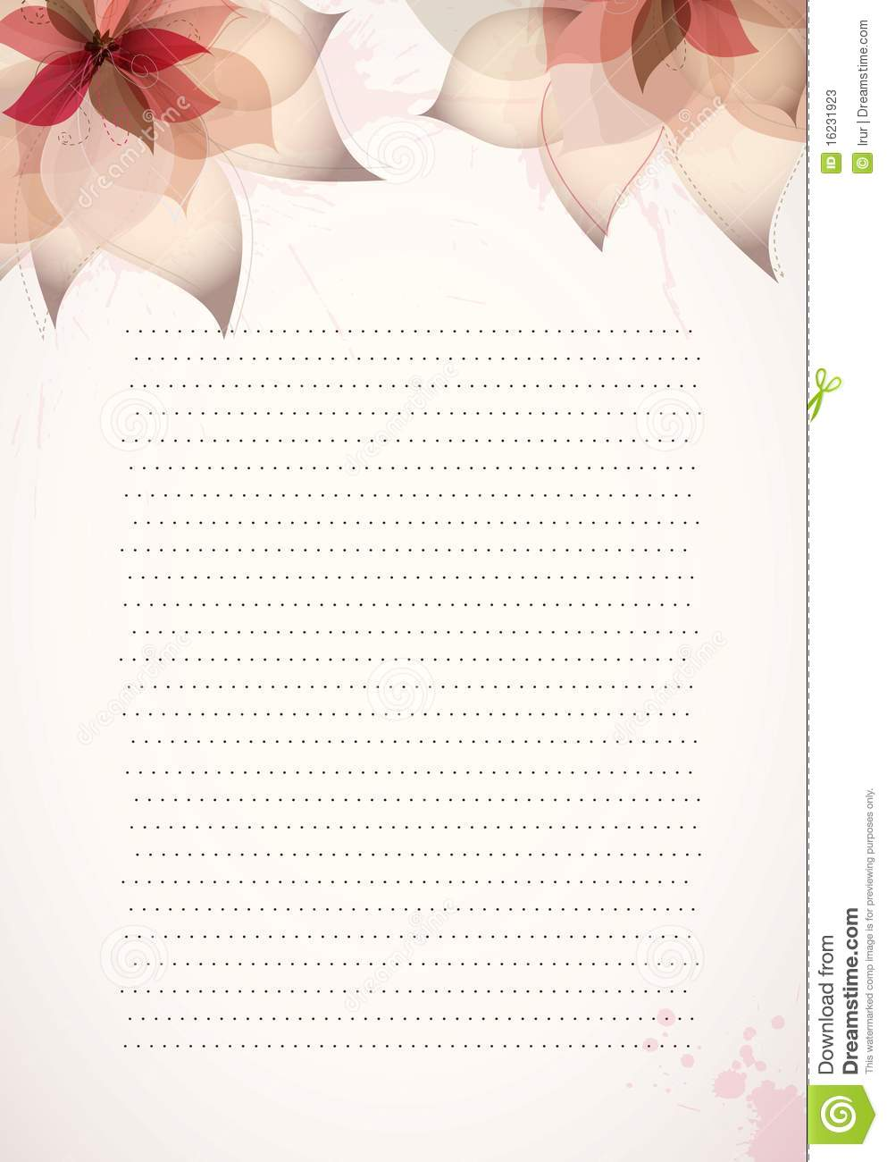 Paper Design Template With Flowers Stock Vector Illustration Of