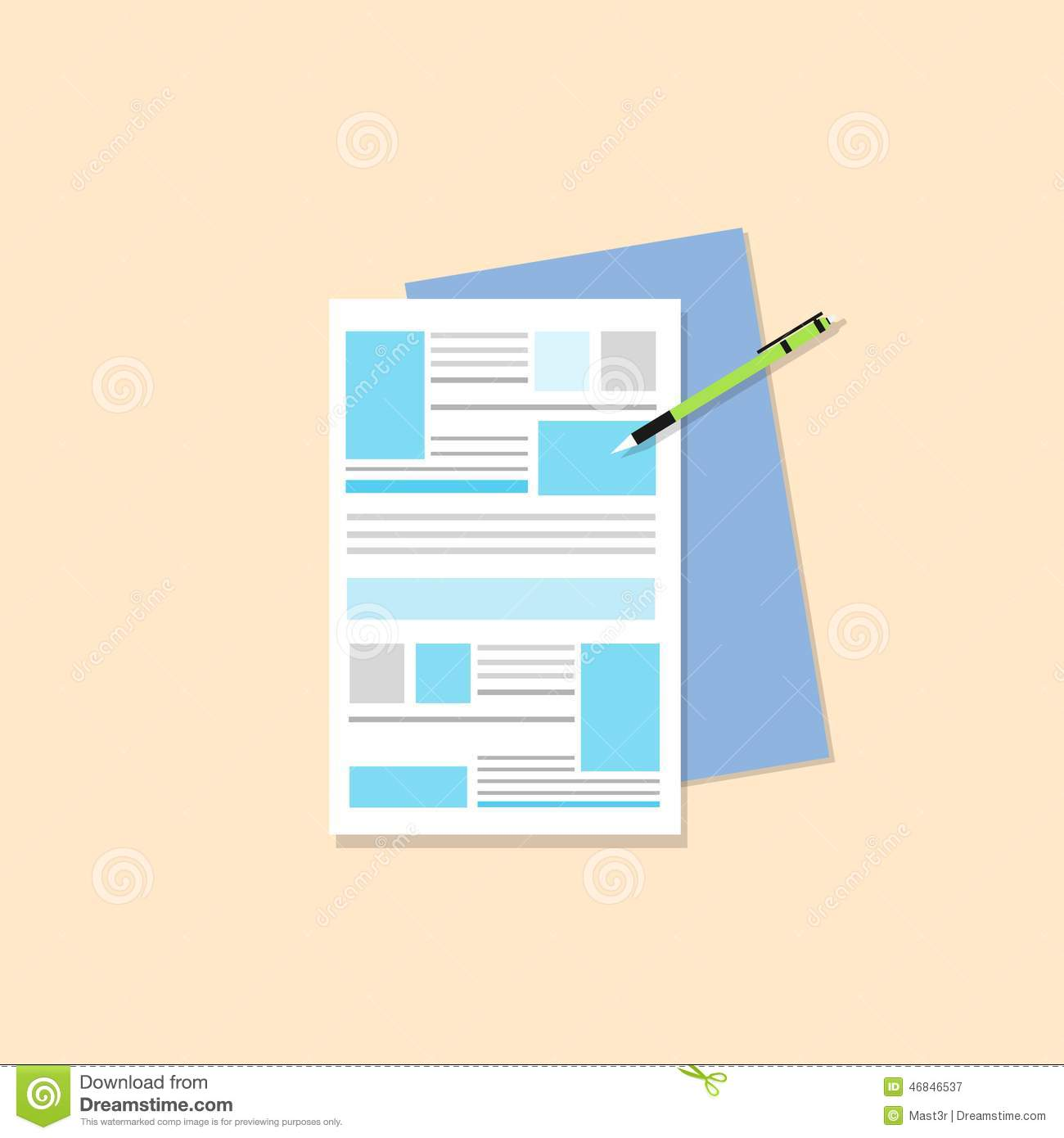 Paper Document With Pen Flat Icons Design Vector Stock