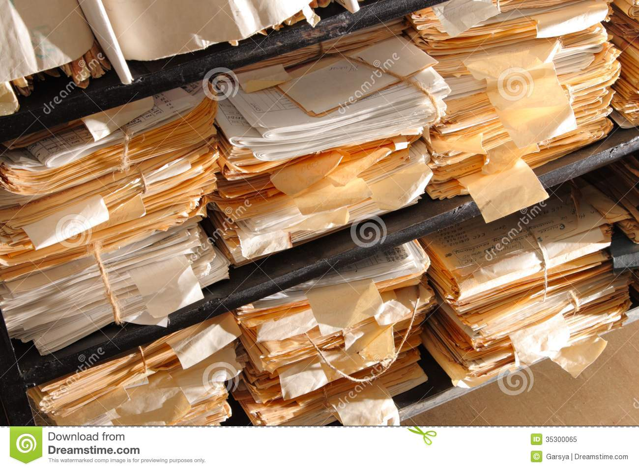 Paper Archive Of Documents Stock Image - Image: 13060991