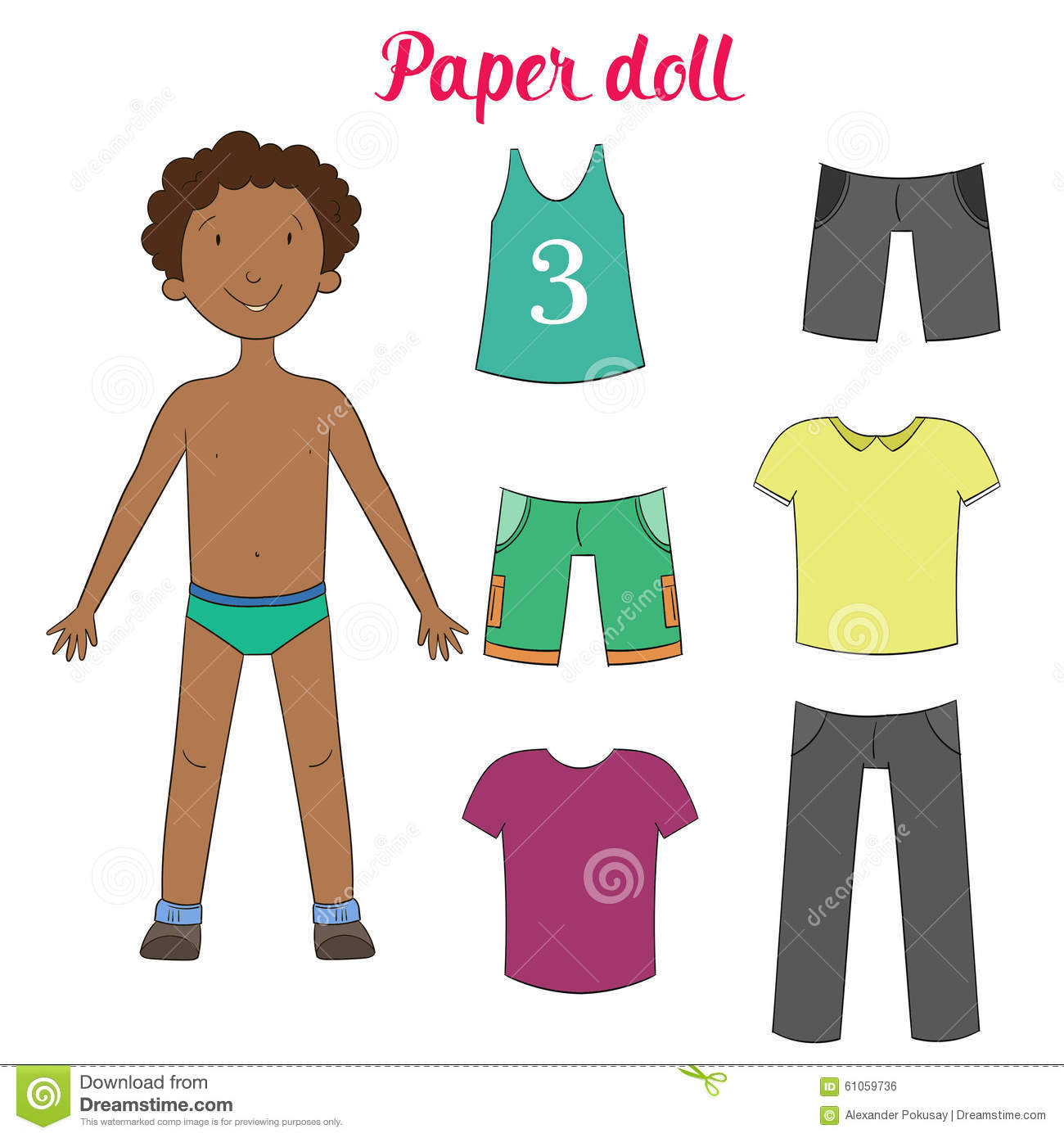 Paper Doll Boy And Clothes Vector Illustration Stock