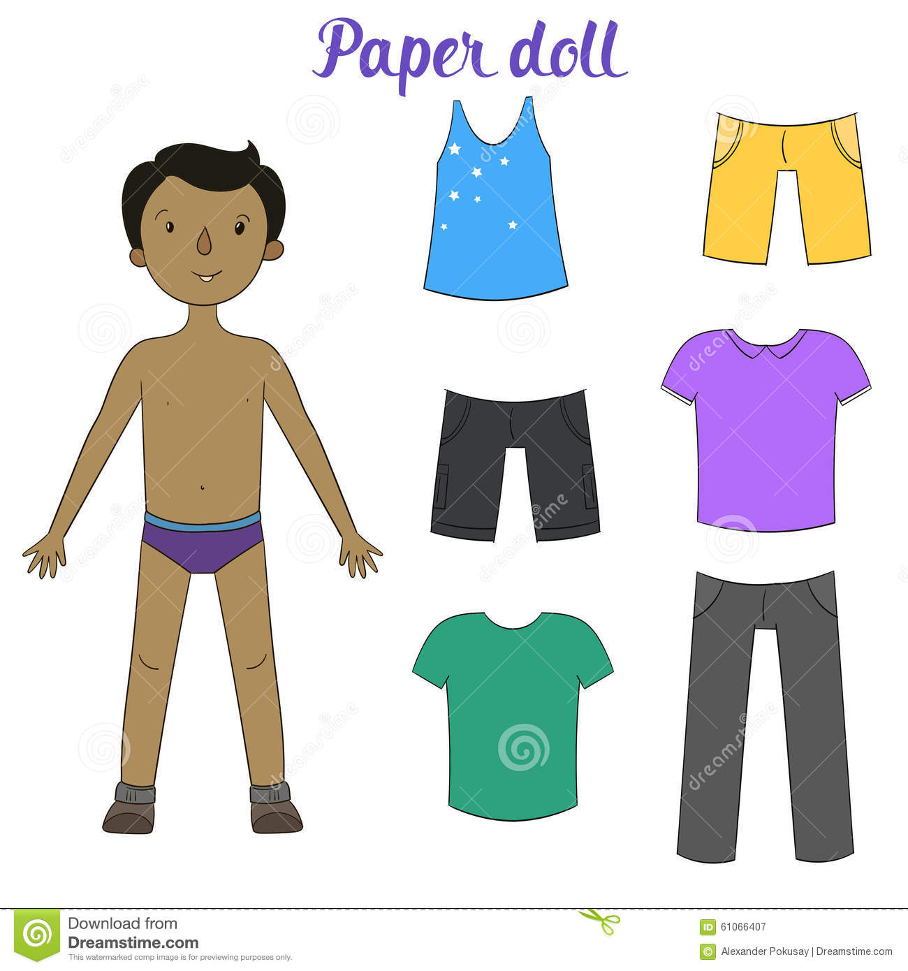 paper doll boy and clothes vector illustration stock doll clip art pic doll clipart simple