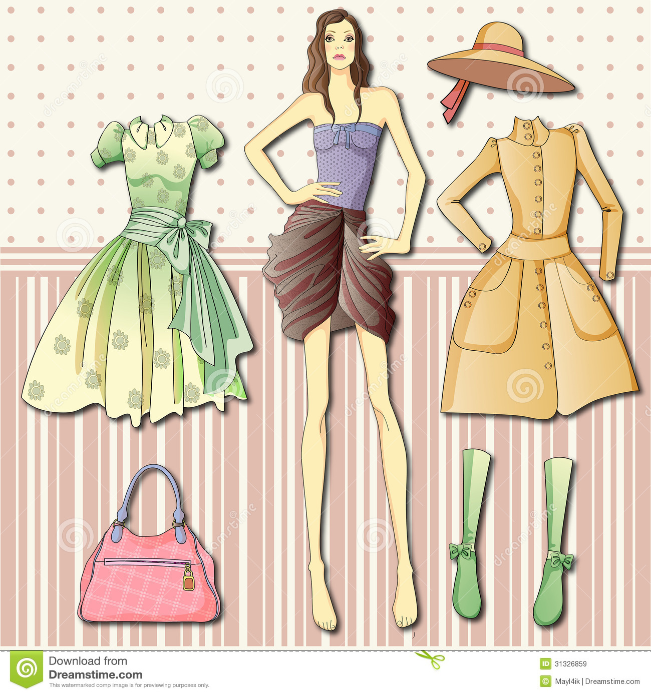 Paper Doll With Clothes Royalty Free Stock Images - Image: 31326859
