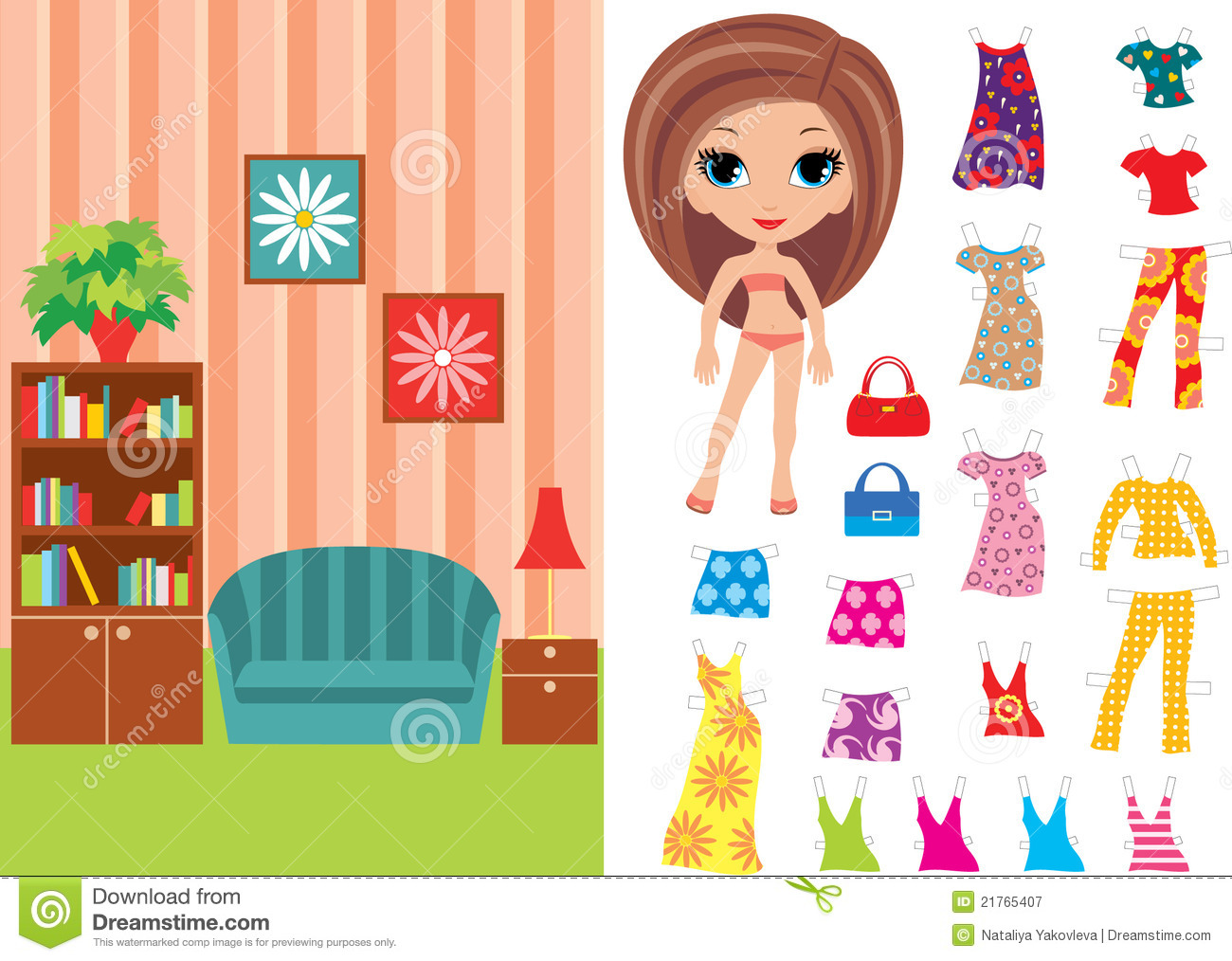 Paper Doll With Clothes And A Paper Room Royalty Free Stock Photography Image 21765407