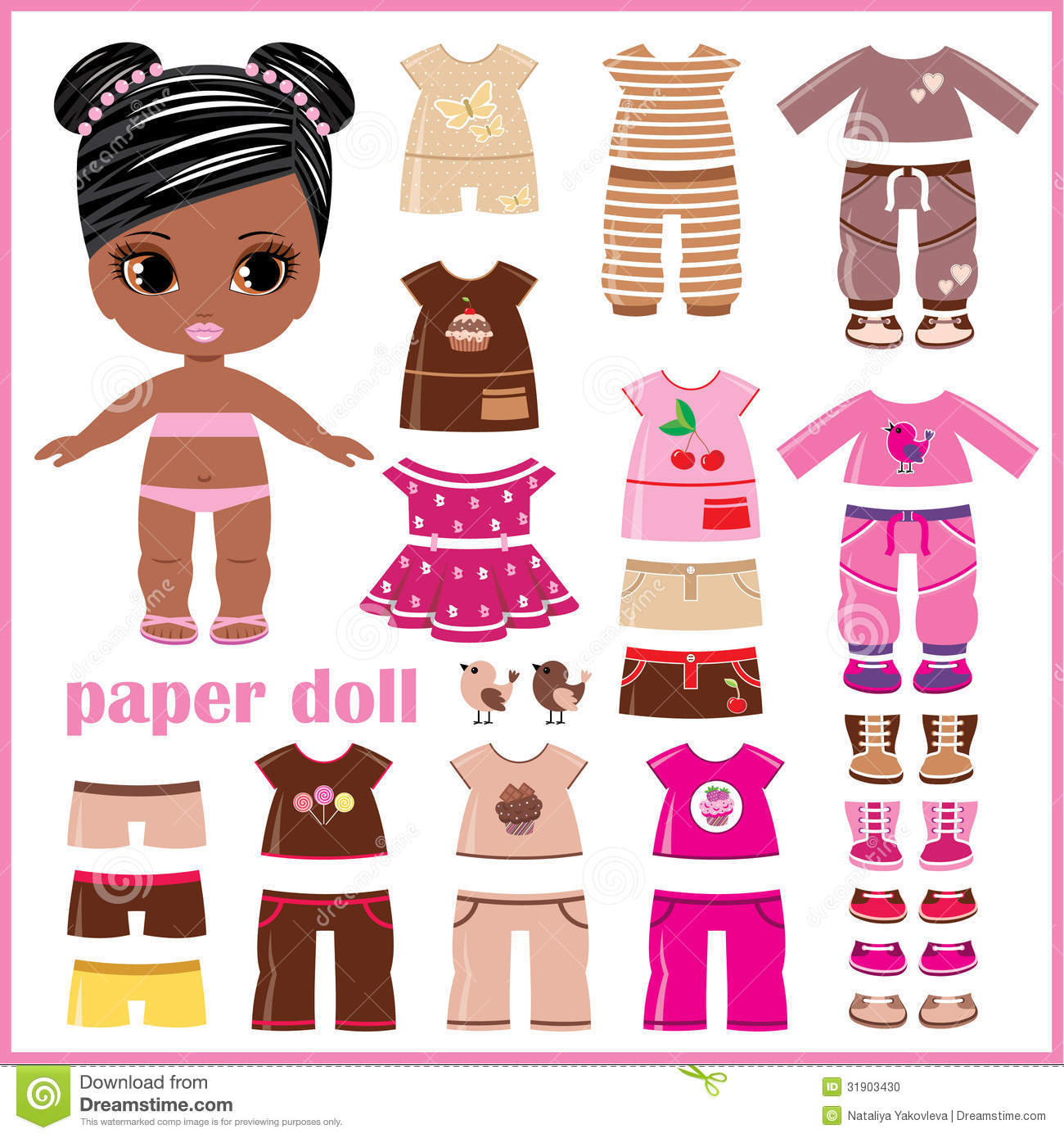 Paper Doll With Clothes Set Stock Photo - Image: 31903430