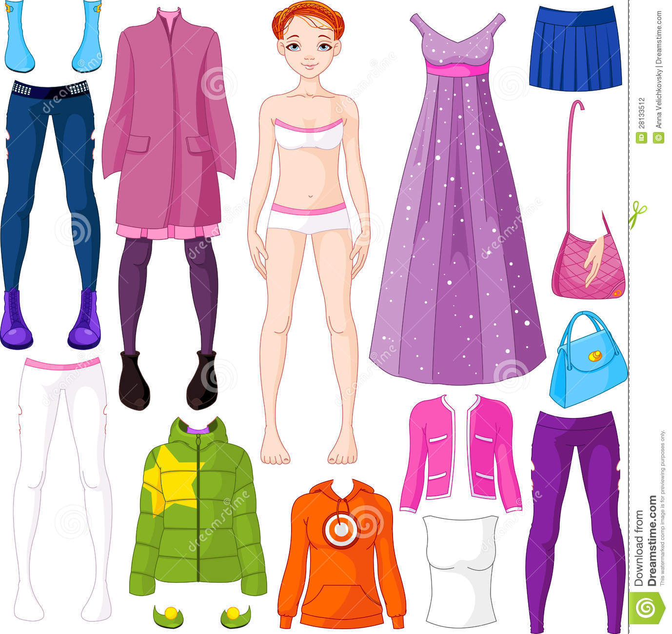 Paper doll with clothing stock photography image 28133512
