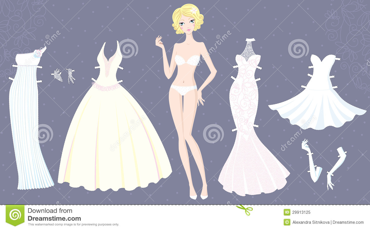 Download Paper Doll Of Cute Girl With Wedding Dresses Stock Vector - Illustration of character, choose: 29913125