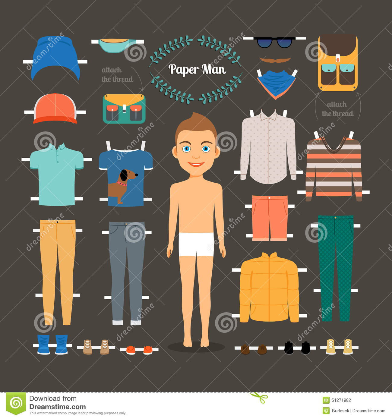 paper doll man template stock vector illustration of fashion 51271982