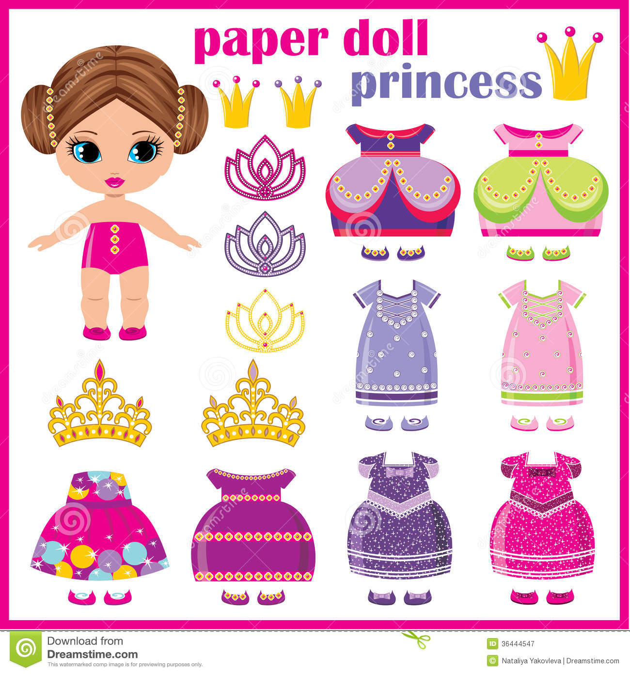 Paper doll princess . stock vector. Illustration of cartoon - 36444547