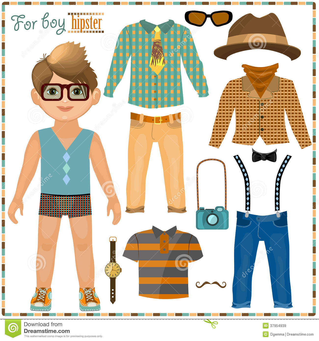 Paper Doll With A Set Of Clothes Cute Hipster Boy Stock Vector
