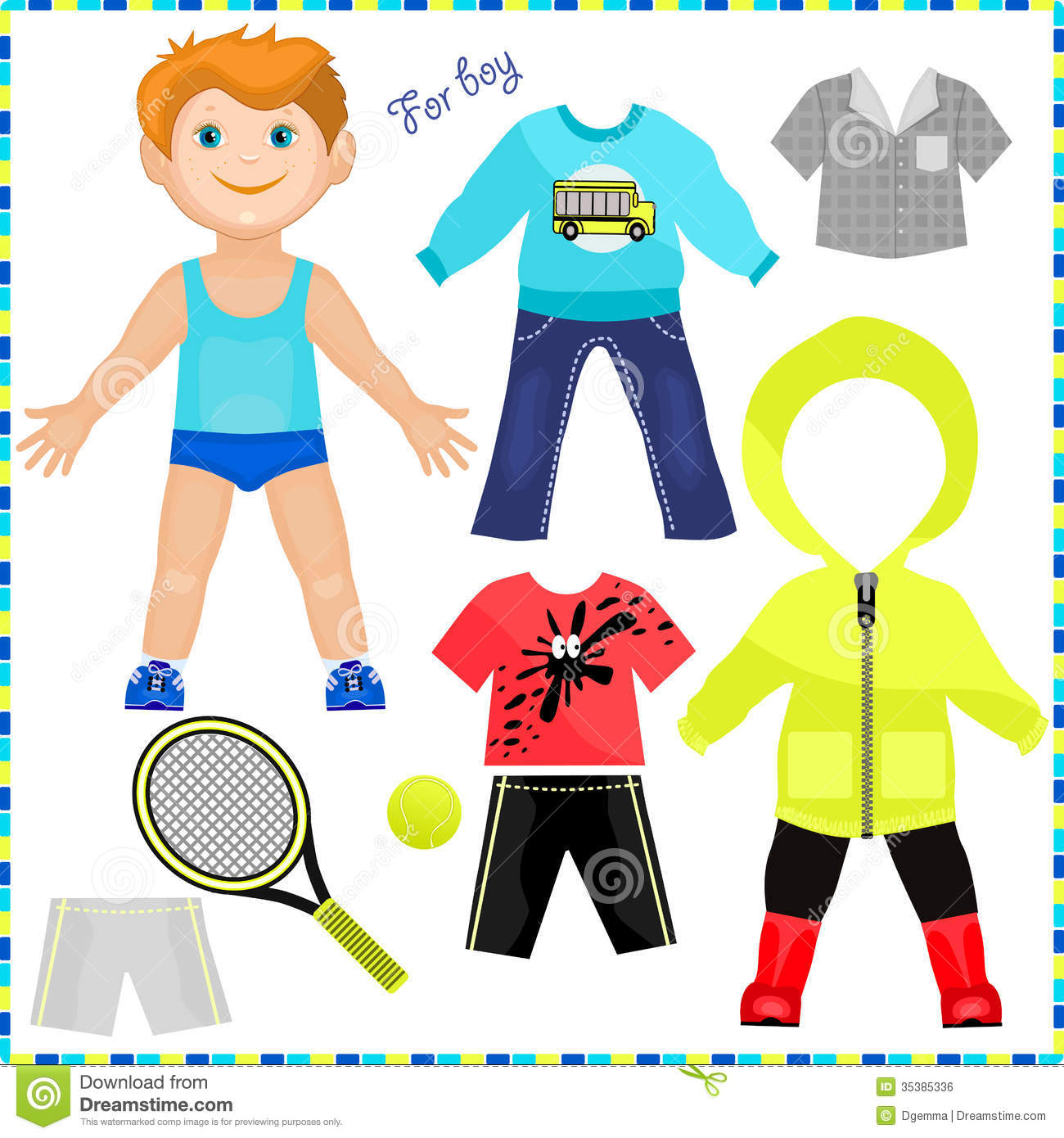 Paper Doll With A Set Of Clothes. Royalty Free Stock Image - Image ...