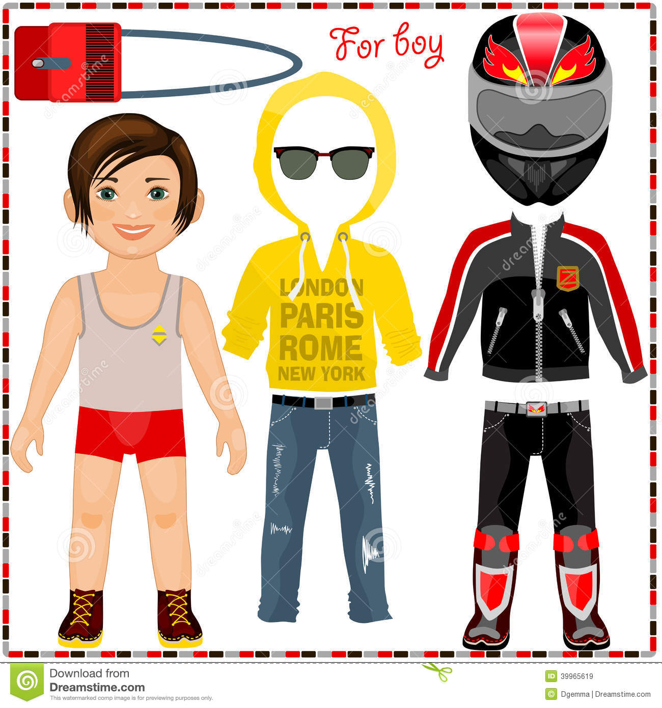 Paper Doll With A Set Of Clothes. Cute Trendy Boy. Stock Vector ...