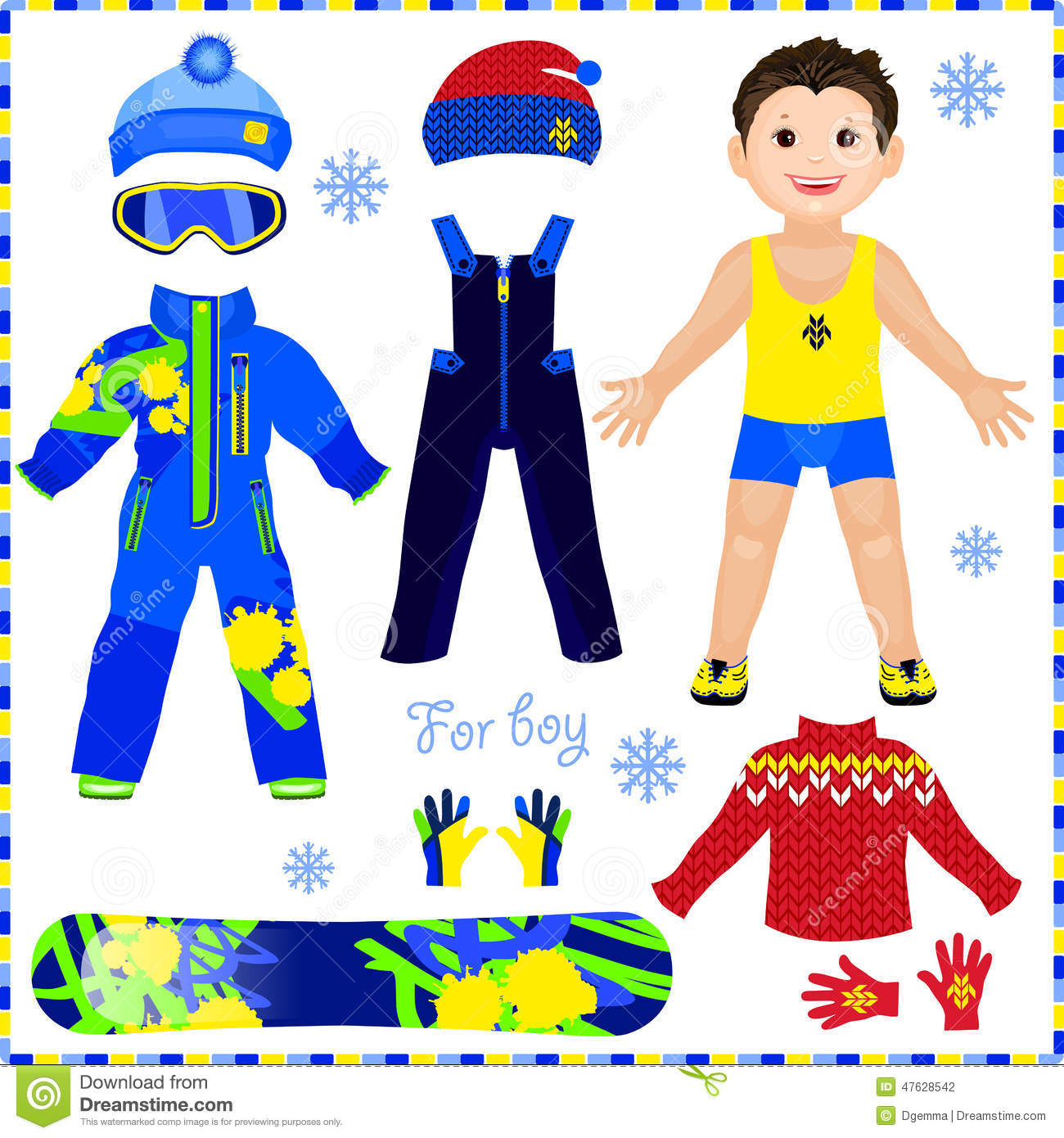 Paper Doll With A Set Of Clothes. Winter Sportswear. Cute Trendy Stock ...