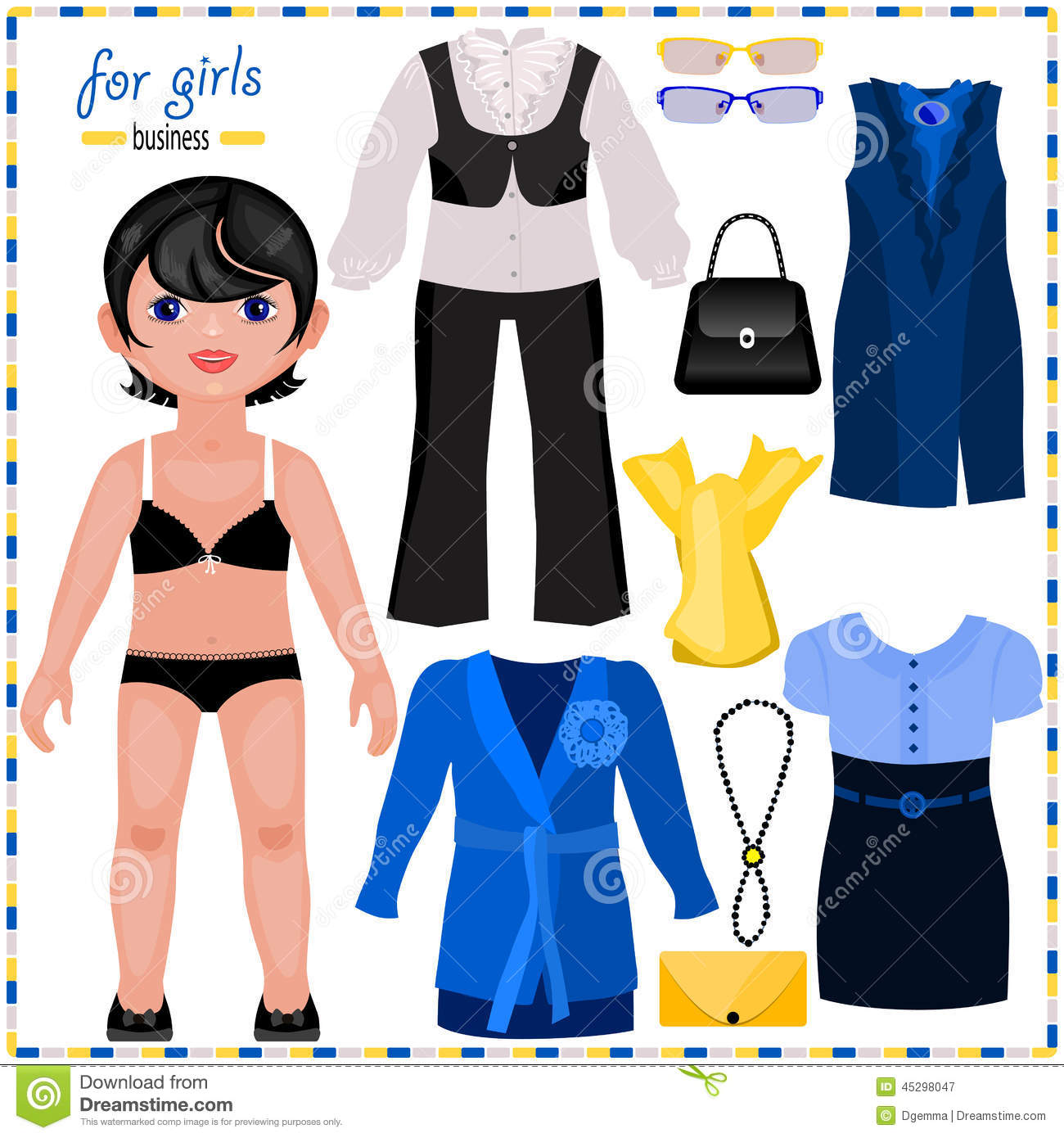 Paper Doll With A Set Of Elegant Clothes Business Style