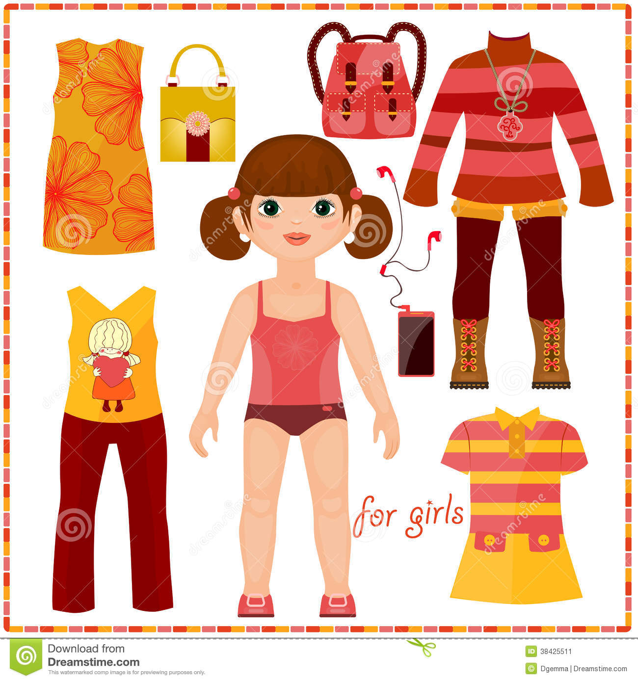 Paper Doll With A Set Of Fashion Clothes. Cute Gir Stock Image - Image ...