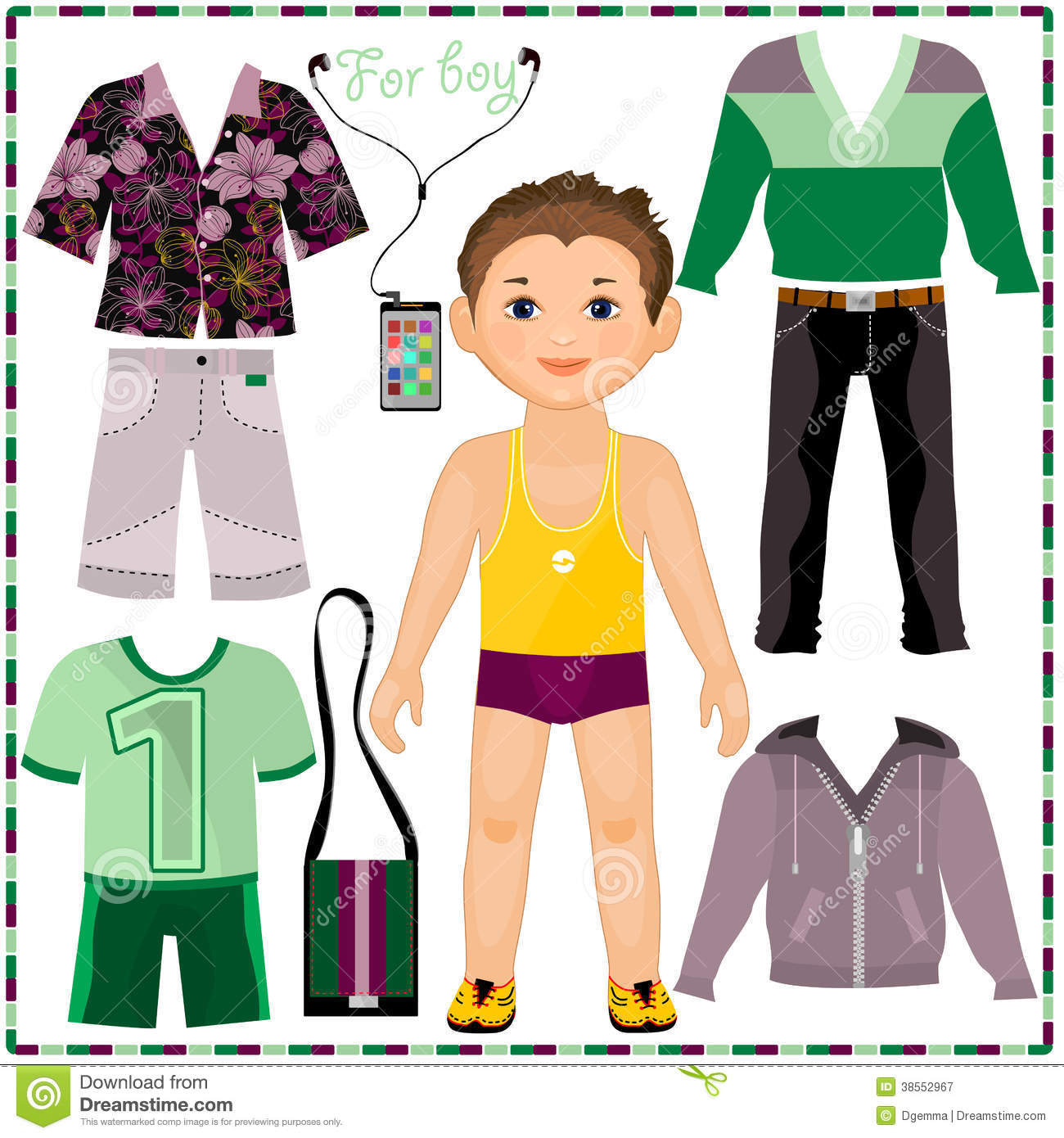 Paper Doll With A Set Of Fashionable Clothing. Cut Royalty Free Stock ...