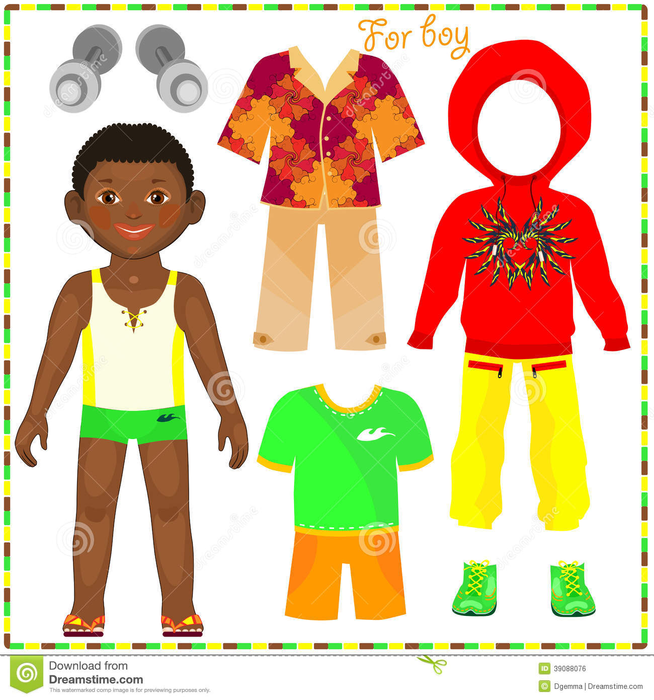 Paper Doll With A Set Of Fashionable Clothing. Stock Vector - Image ...