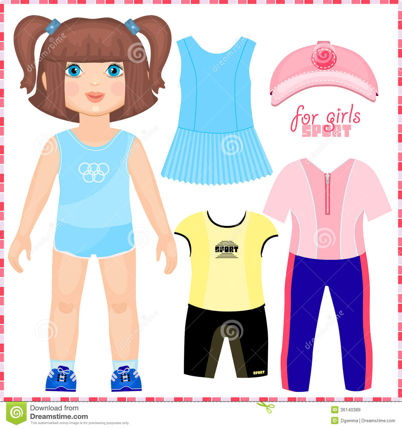 Paper Doll With A Set Of Sport Clothes Stock Vector Illustration
