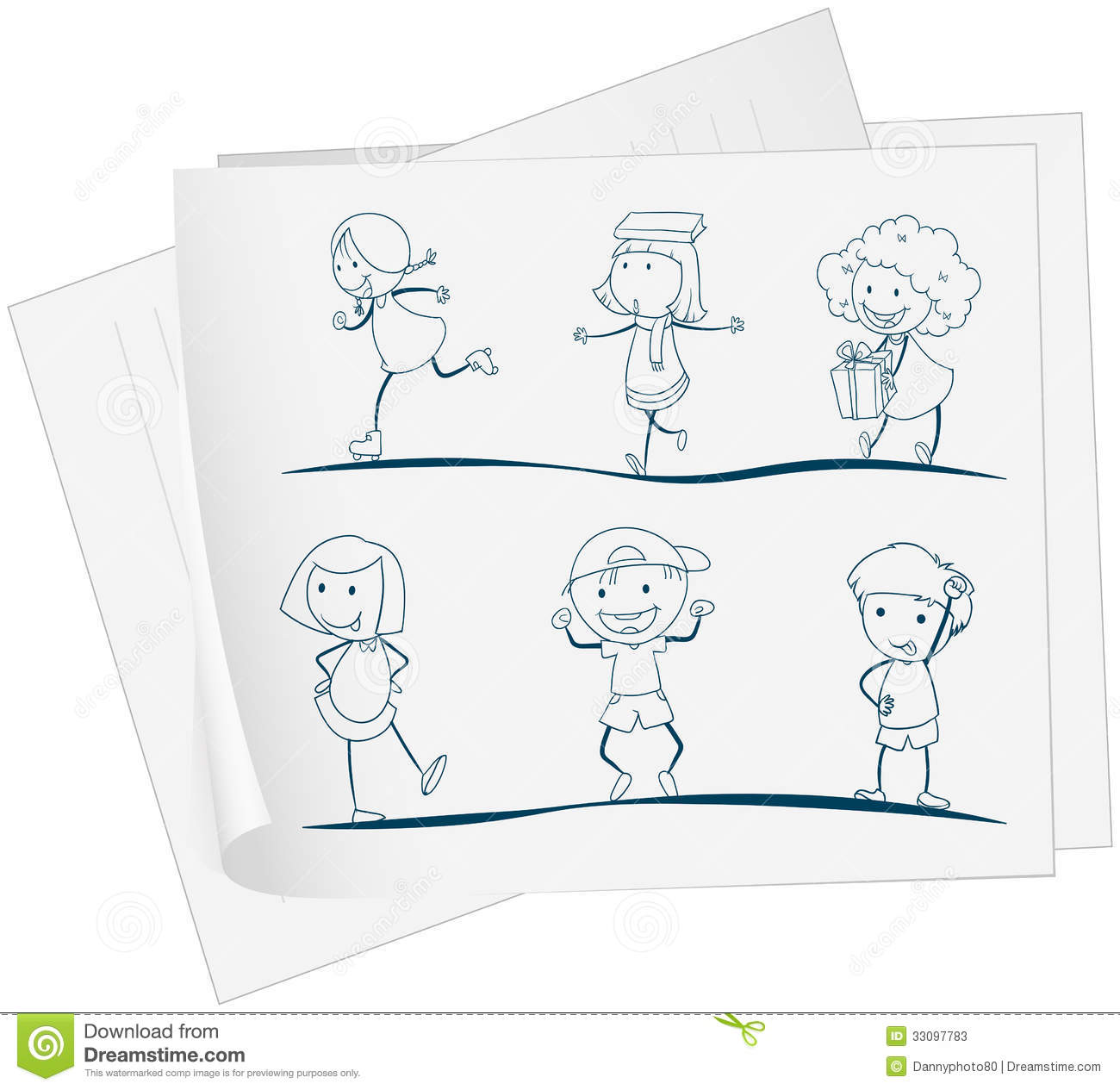royalty free stock photo download a paper with a drawing of playful kids