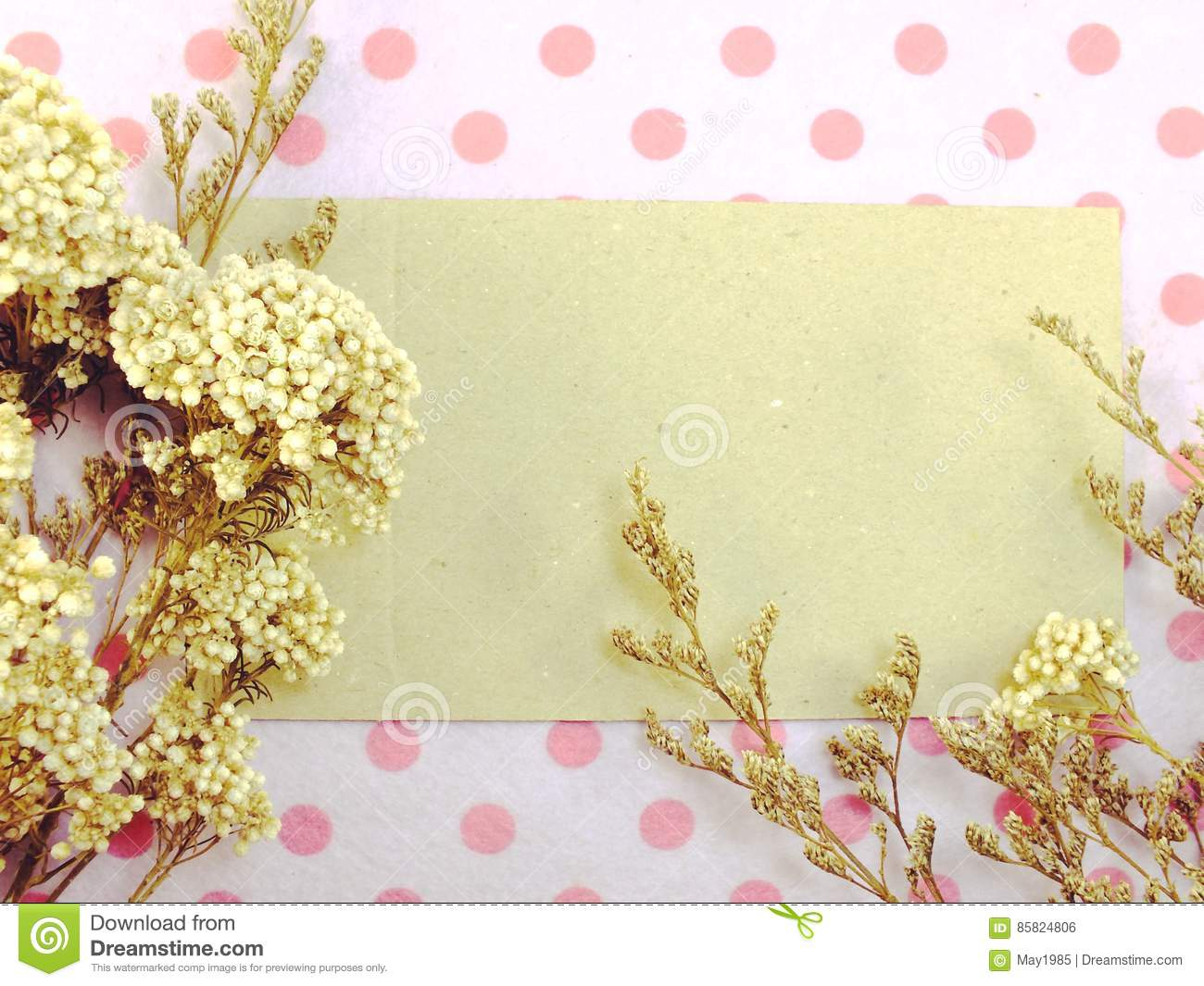 Paper With Dried Flowers And Space Copy Background Stock Photo