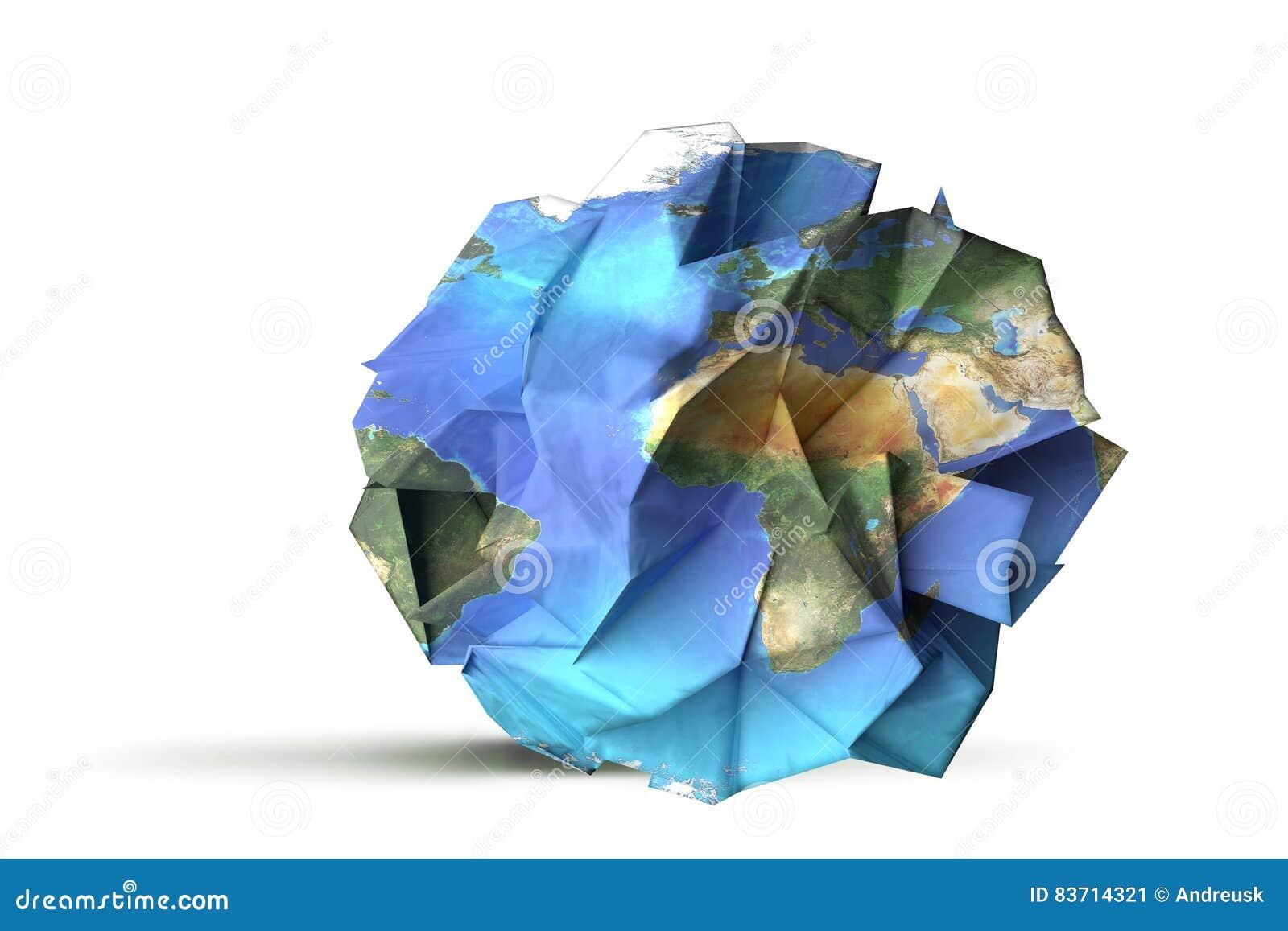 Paper Earth Illustration Stock Illustration