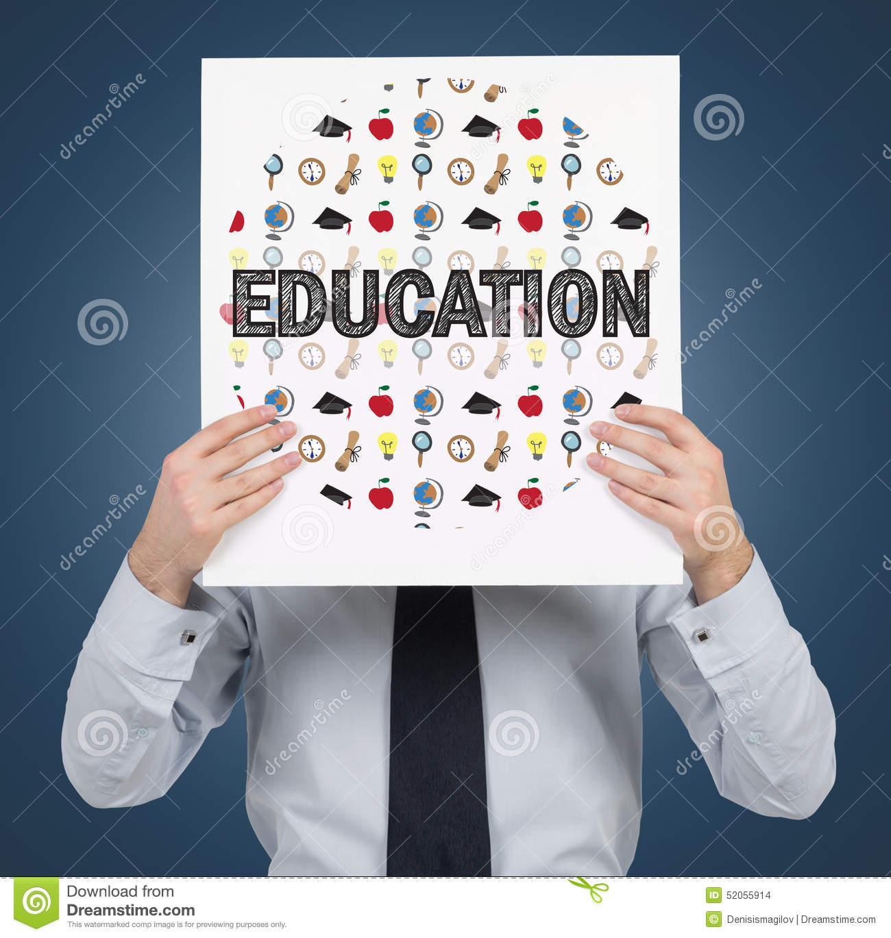 Paper with education icons