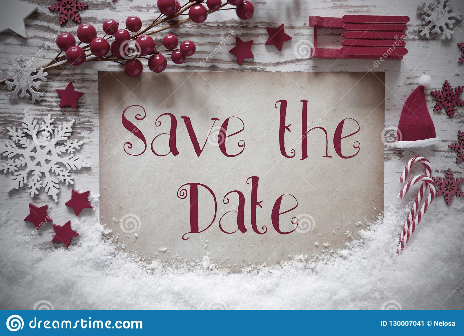 Red Christmas Decoration, Snow, English Text Save The Date