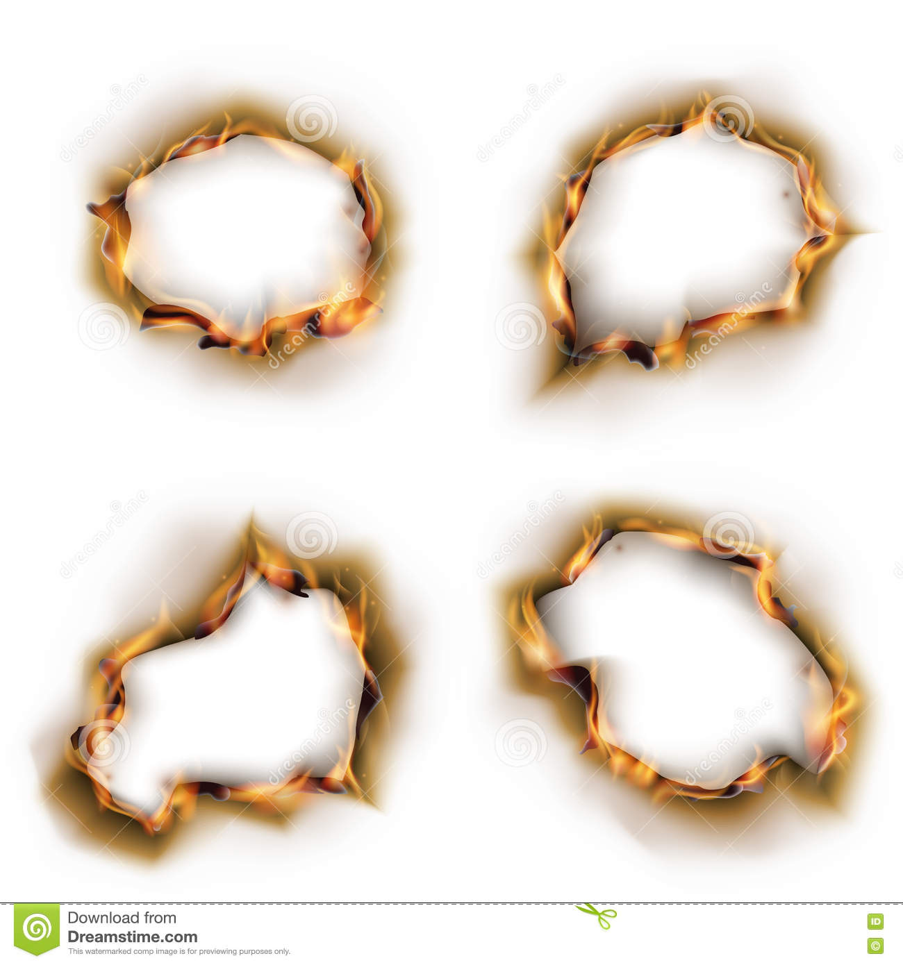 paper on fire with burnt holes vector set stock vector