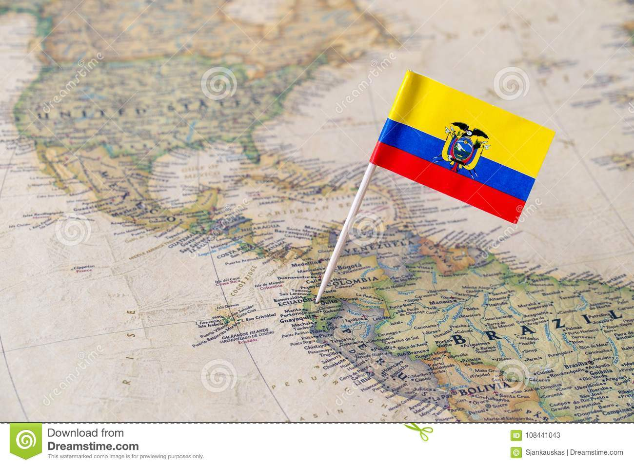 Ecuador flag pin on world map