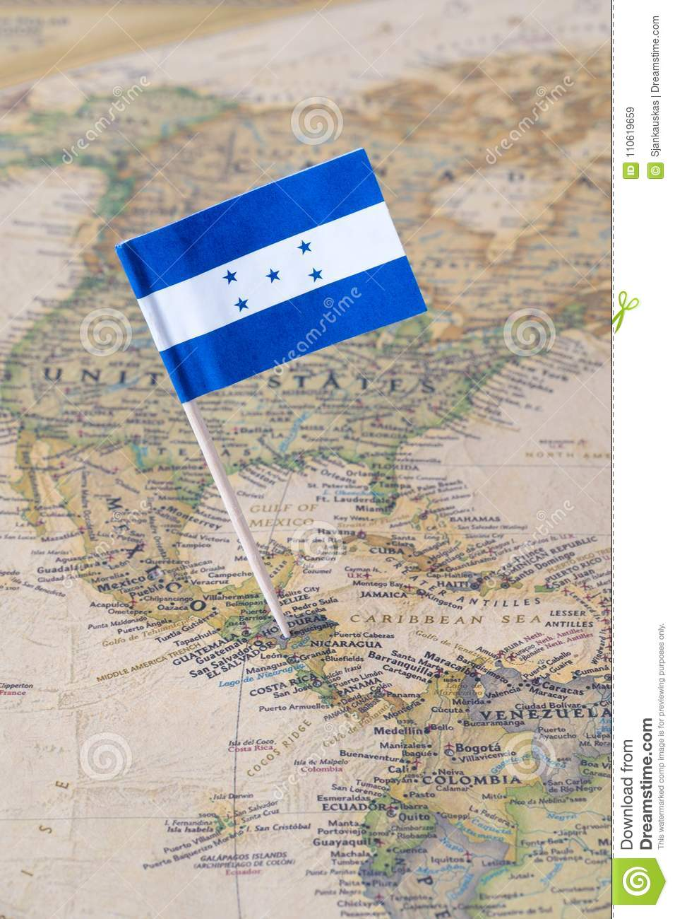 Honduras Flag Pin On A World Map Stock Image - Image of cities ...