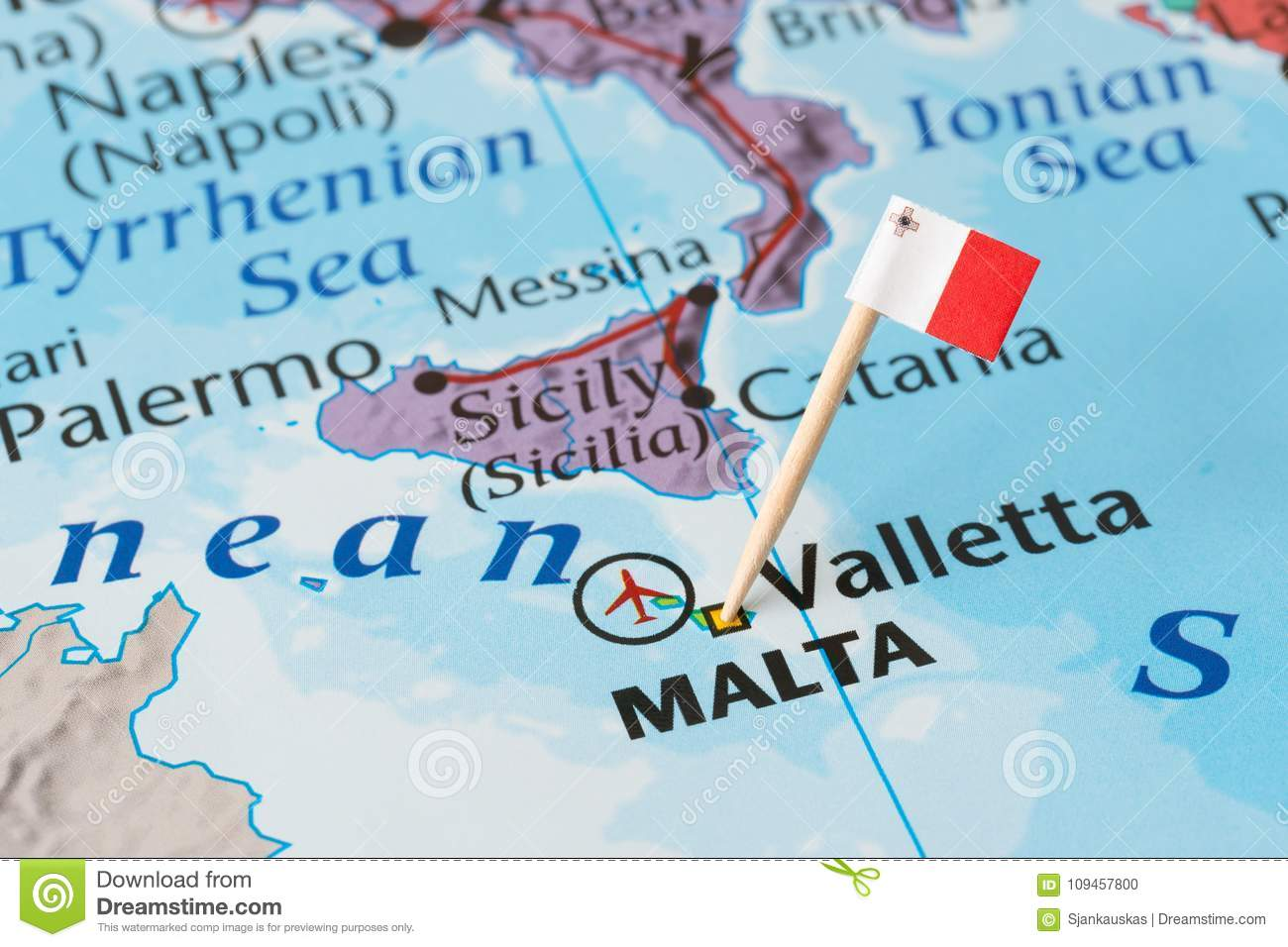 Malta map and flag pin stock photo. Image of countries - 109457800
