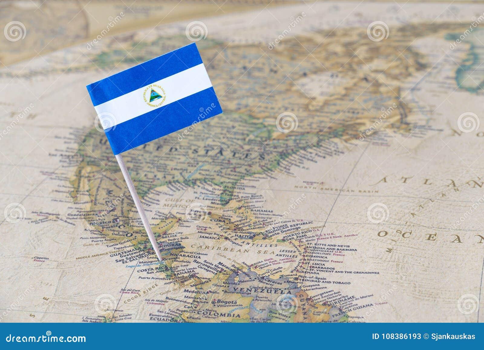 Nicaragua flag pin on world map stock image image of countries nicaragua flag pin on world map royalty free stock photo gumiabroncs Images