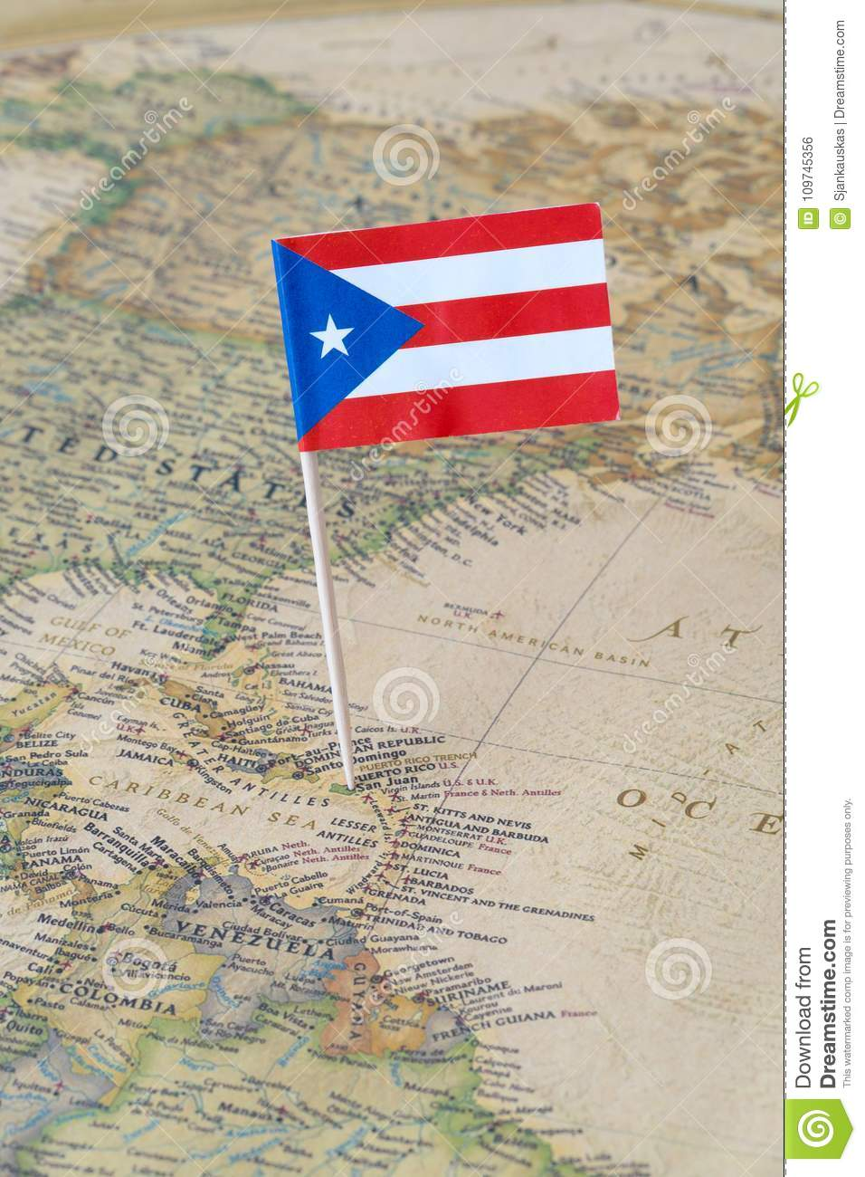 Puerto Rico Flag Pin On A World Map Stock Photo Image Of Atlas