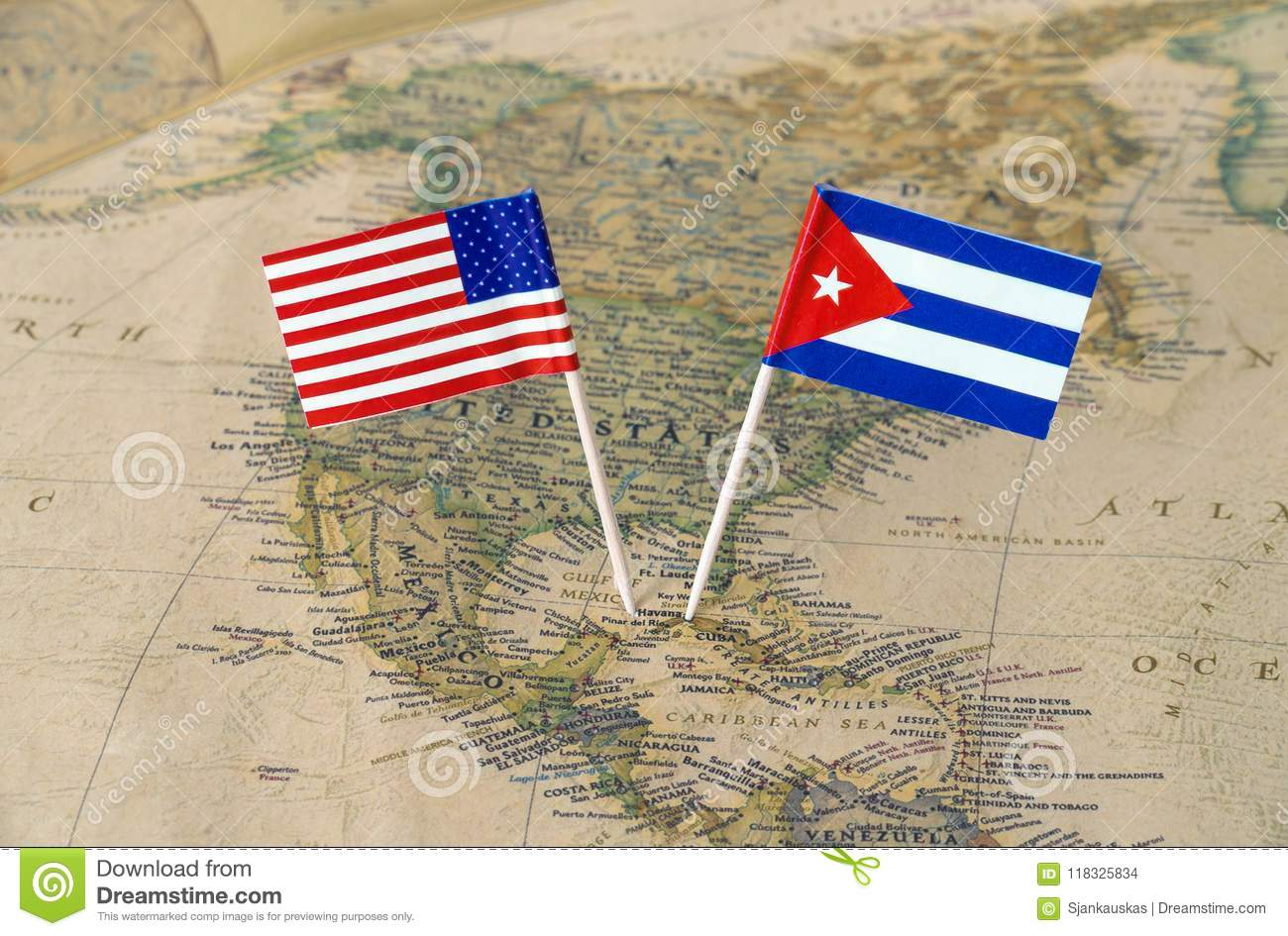 World Map Of United States Of America.The United States Of America And Cuba Flag Pins On A World Map