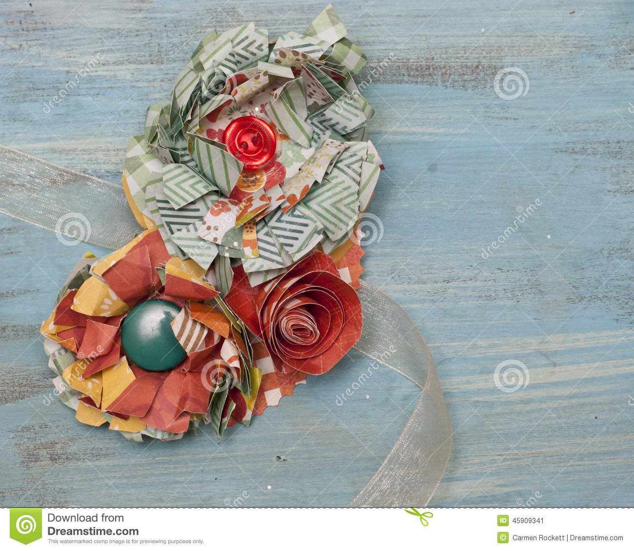 Paper Flower Corsage Stock Image Image Of Craft Ribbon 45909341