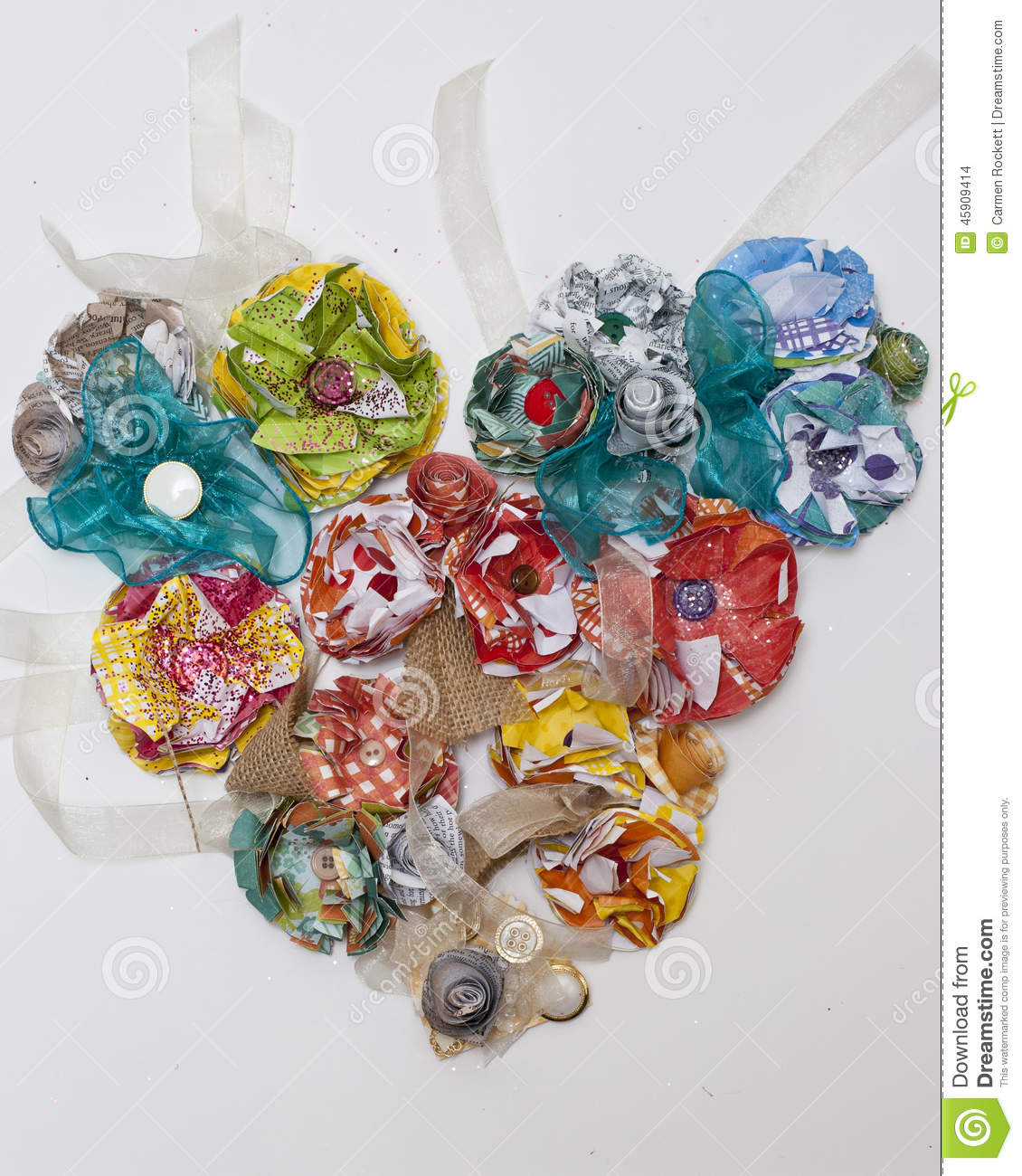 Paper Flower Corsage Heart Stock Photo Image Of Distressed Green
