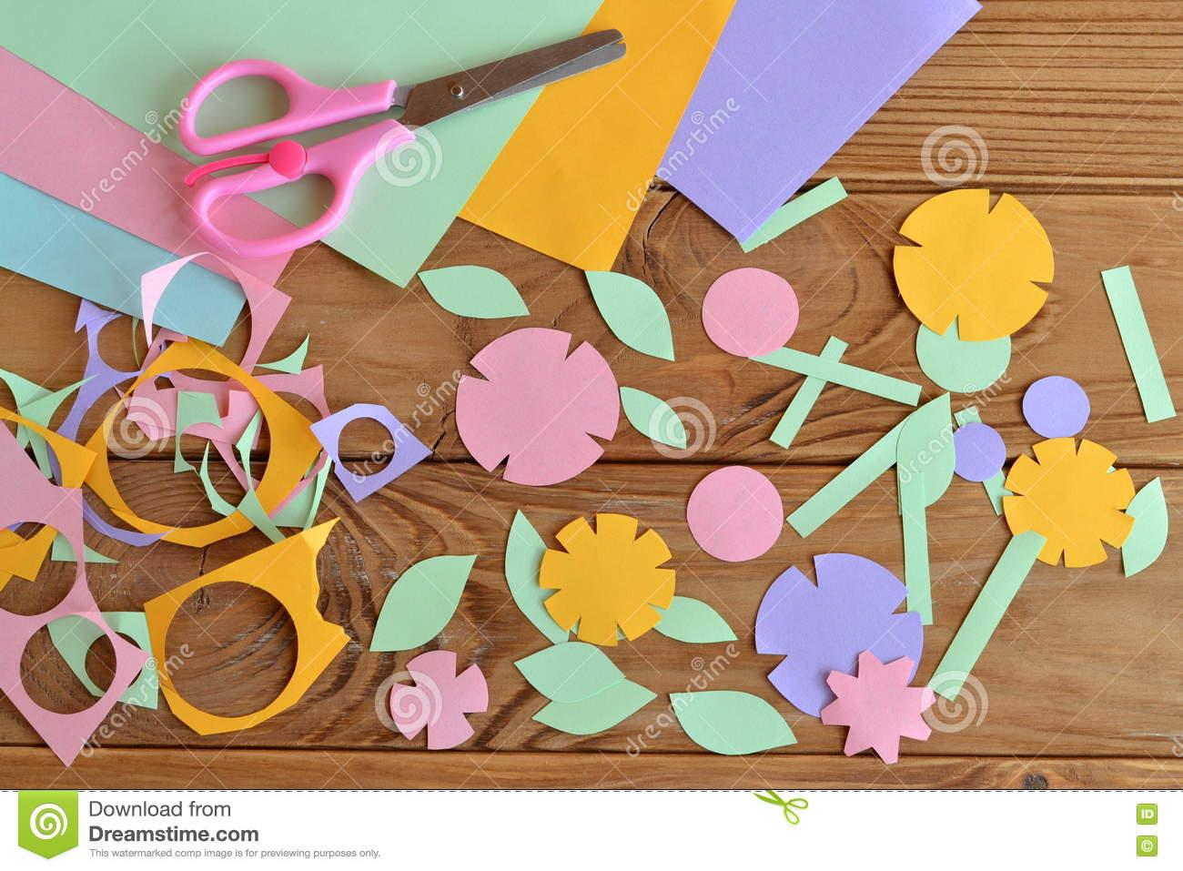 Leaning parts of plant and flower for kids stock vector image paper flower craft for kids royalty free stock photos dhlflorist Images