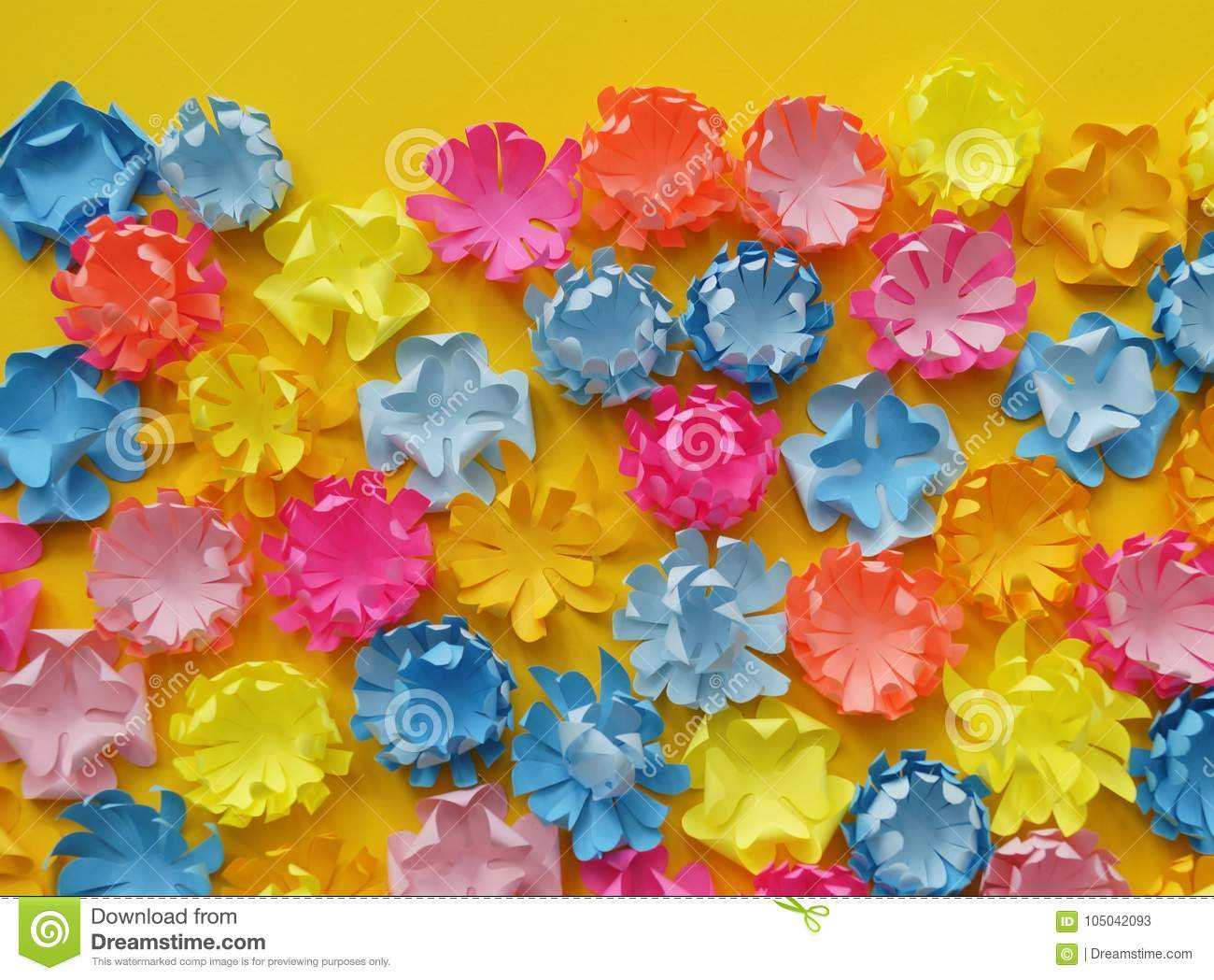 Paper Flower Glade Of Multi Colored Flowers Yellow Background