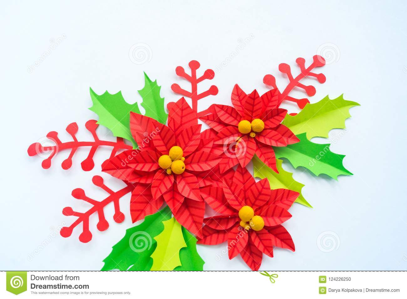 Paper flower poinsettia and leaves of holly stock photo image of paper flower poinsettia and leaves of holly mightylinksfo
