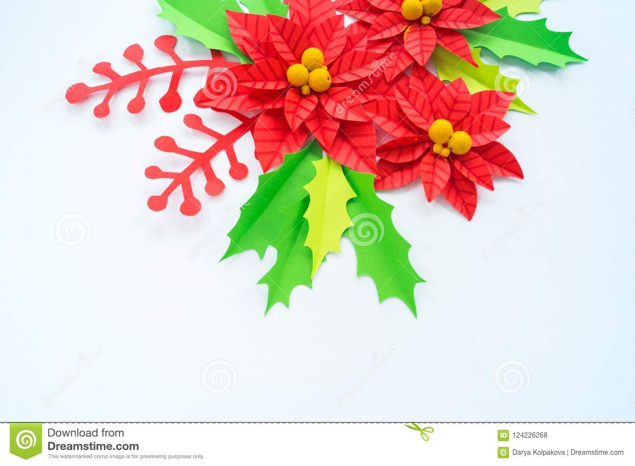 Paper flower poinsettia and leaves of holly stock photo image of download paper flower poinsettia and leaves of holly stock photo image of holiday handmade mightylinksfo