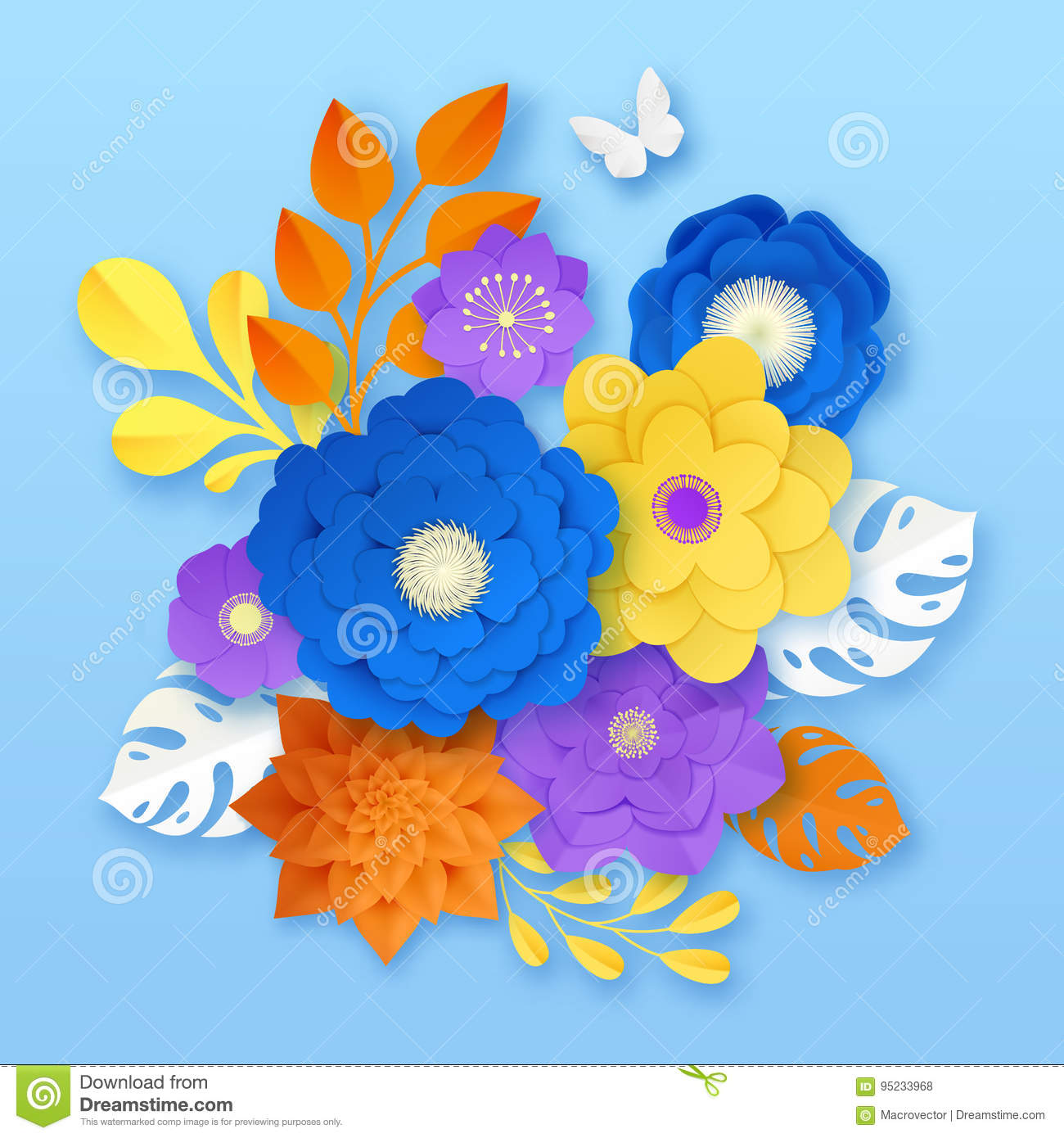 Paper Flowers Abstract Composition Template Stock Vector