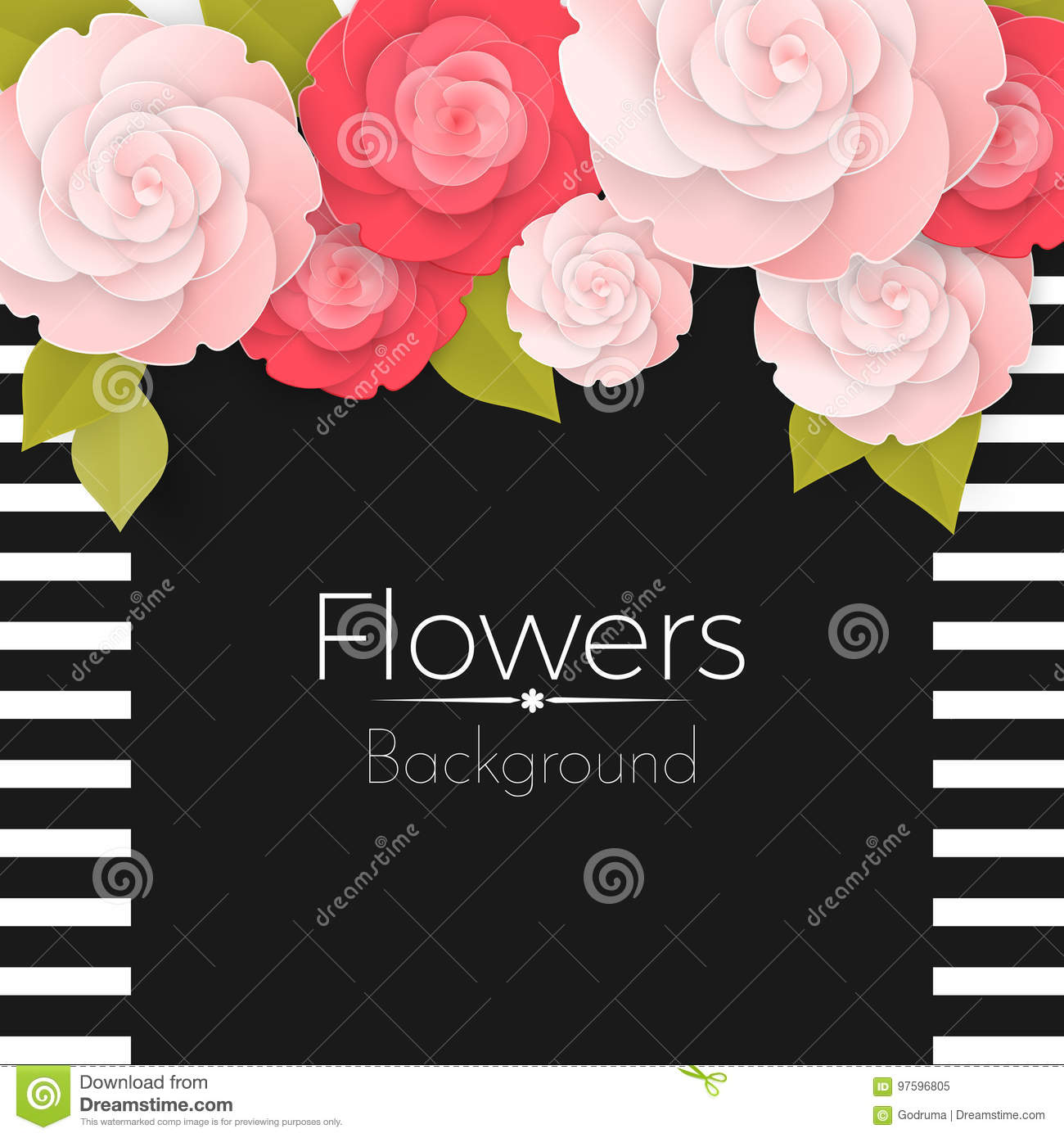 Paper Flowers Background With Stripped Frame Black Middle And Roses