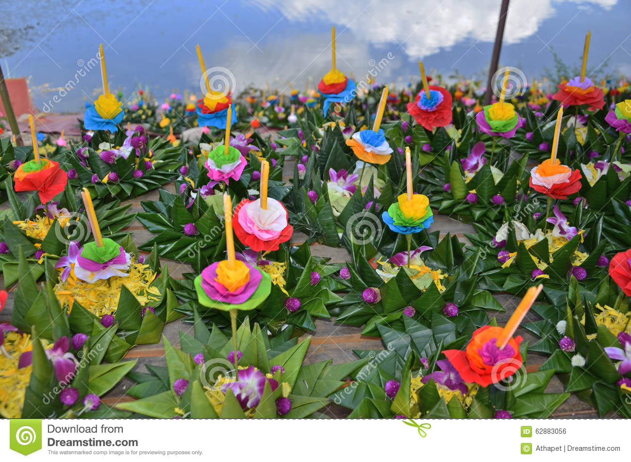 Paper flowers in banana leaves vessels stock photo image of download comp mightylinksfo