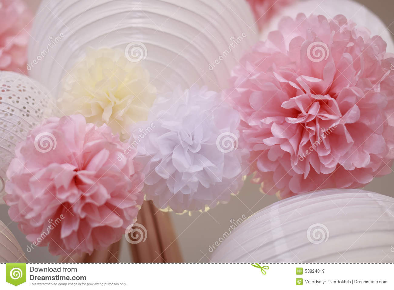 Paper Flowers And Chinese Lantern Stock Image Image Of Lamp Bloom