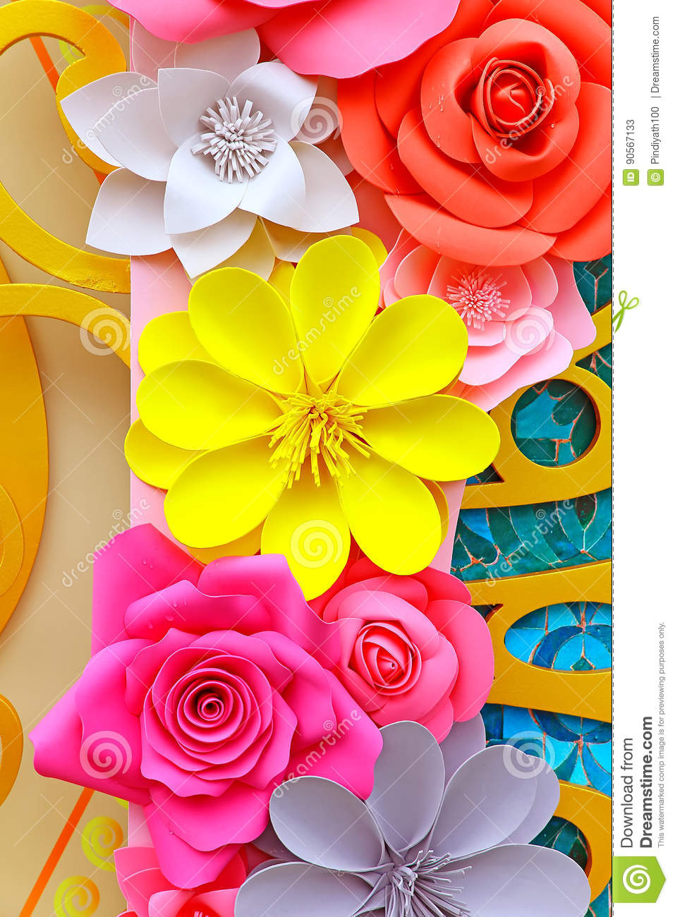 Paper Flowers Decorative Background Stock Image Image Of