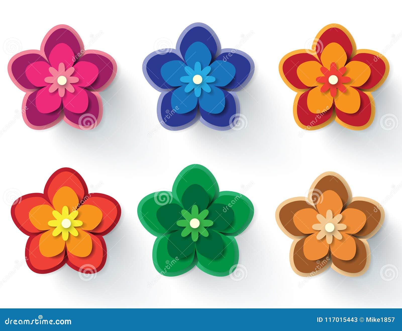 Paper Flowers Vector Elements Set Stock Vector Illustration Of