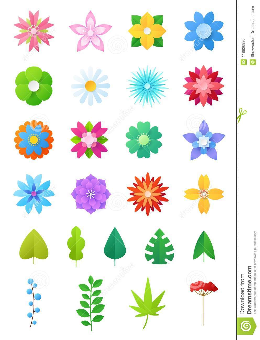 Paper Flowers Vector Floral Decoration Or Flowered Greeting Card