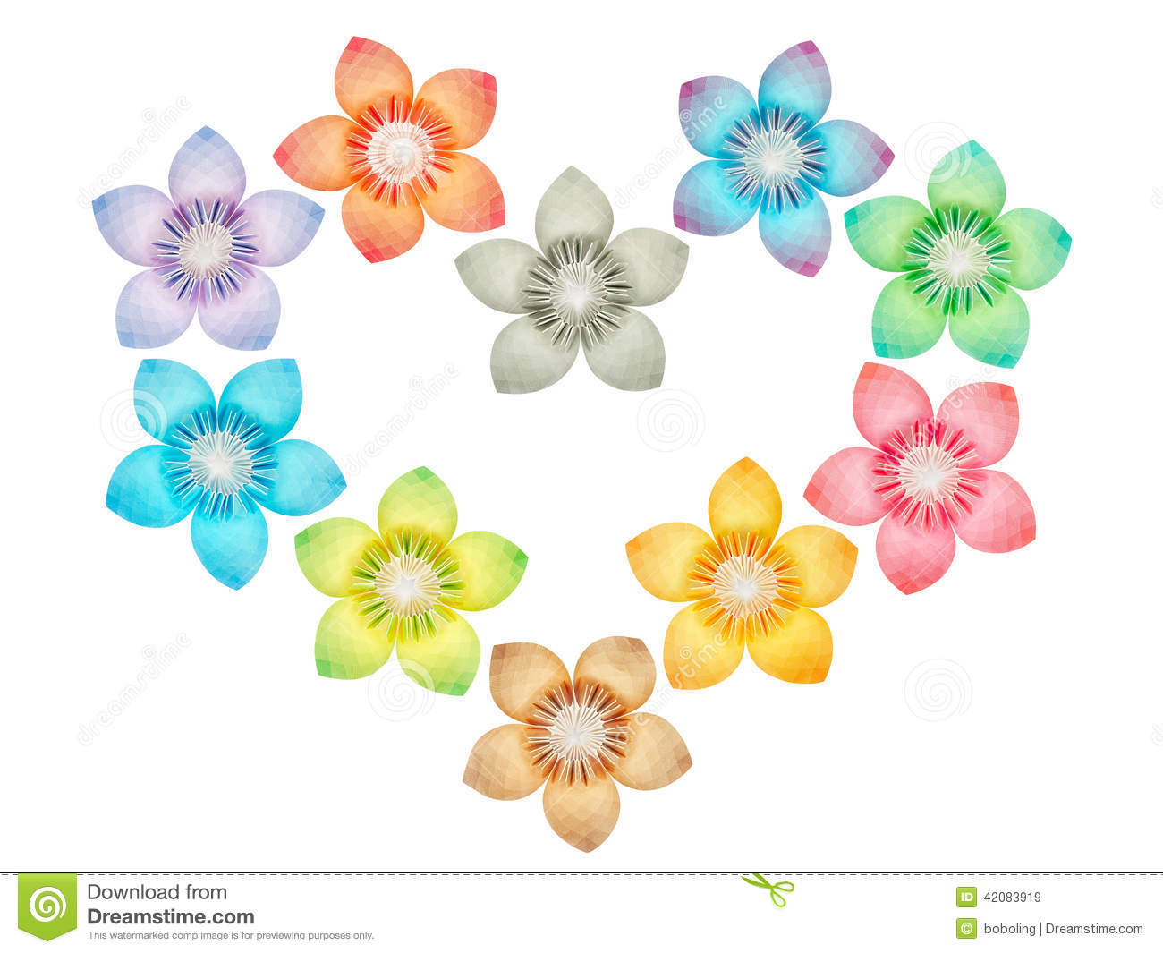 Paper Folded Flowers Arranged In A Heart Shape Stock Illustration