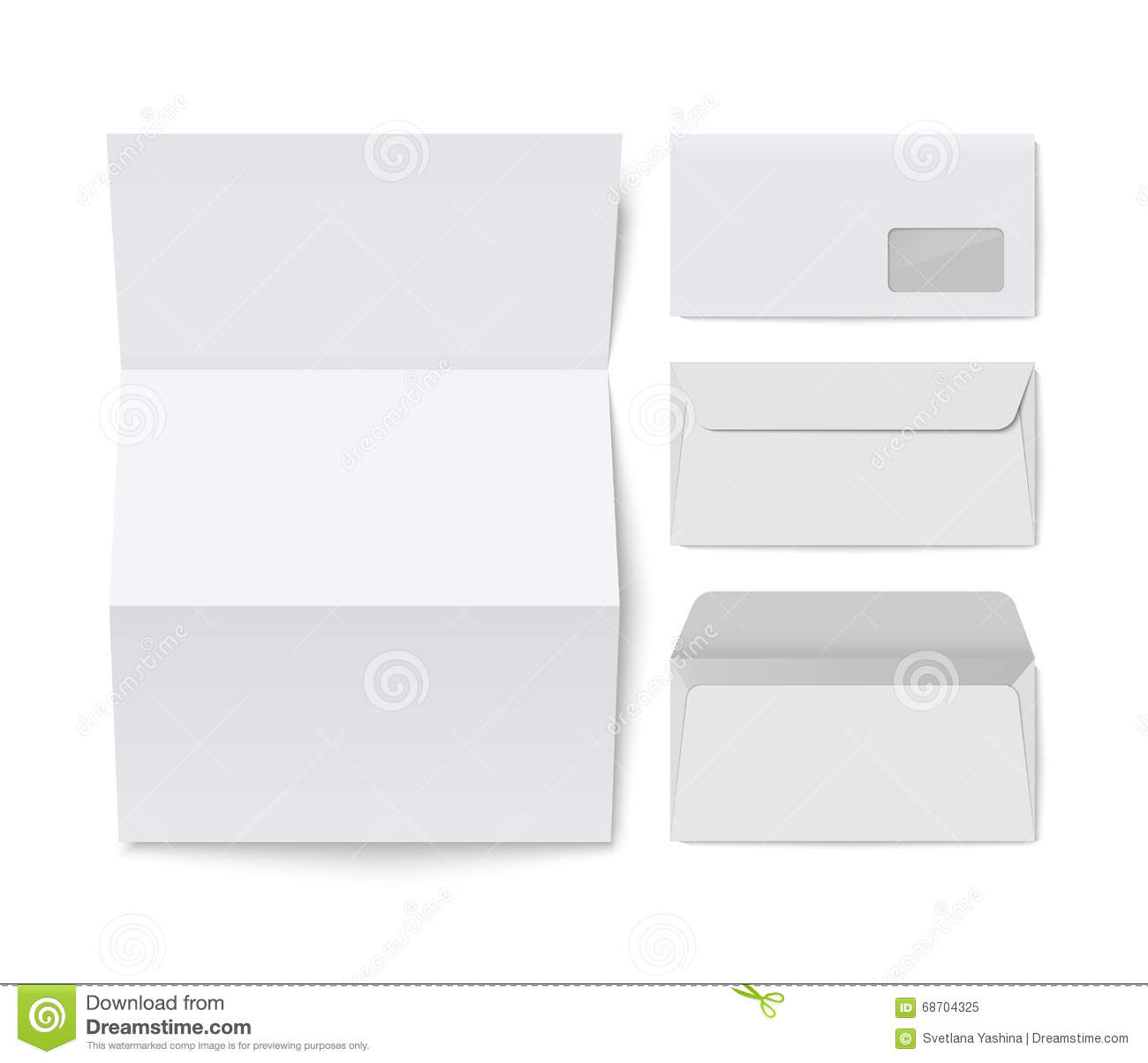paper folded letter and blank envelope template stock vector