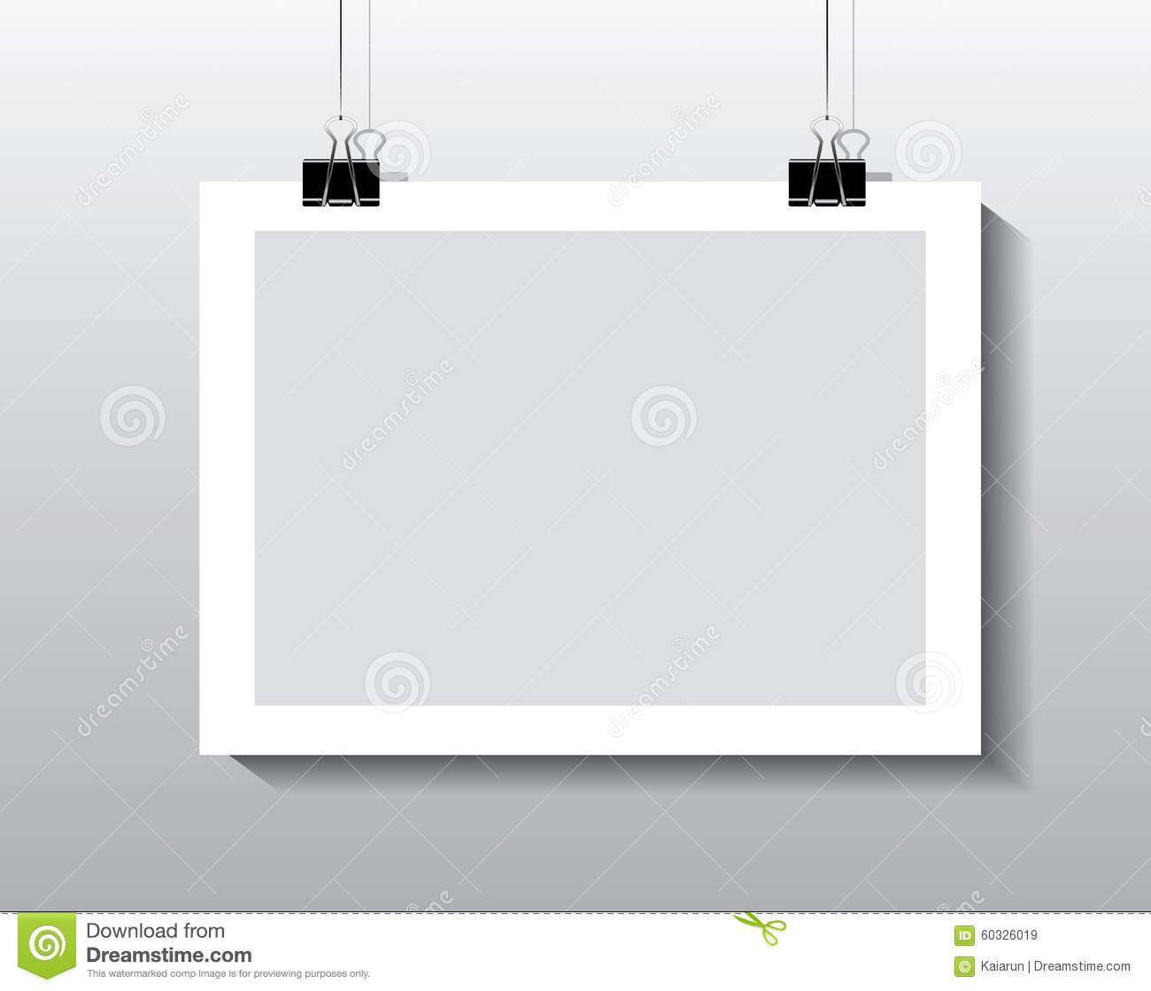 Paper frame hanging by paper clips