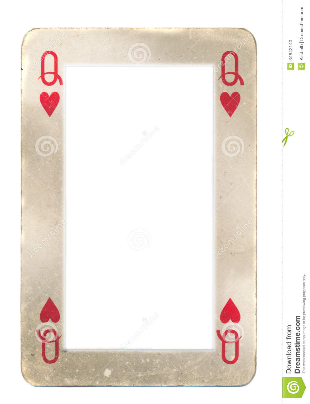 paper frame from queen of hearts playing card stock photo